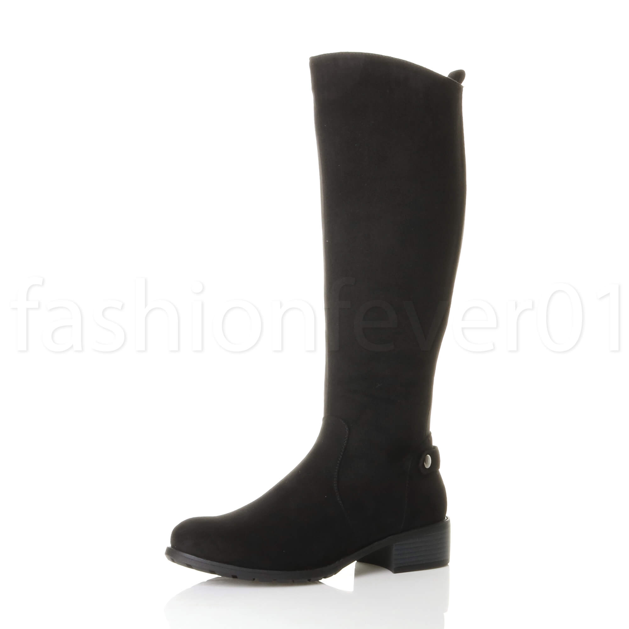 a9726c2564d5df WOMENS LADIES LOW MID HEEL GUSSET STRETCH ZIP CALF RIDING BOOTS SIZE ...