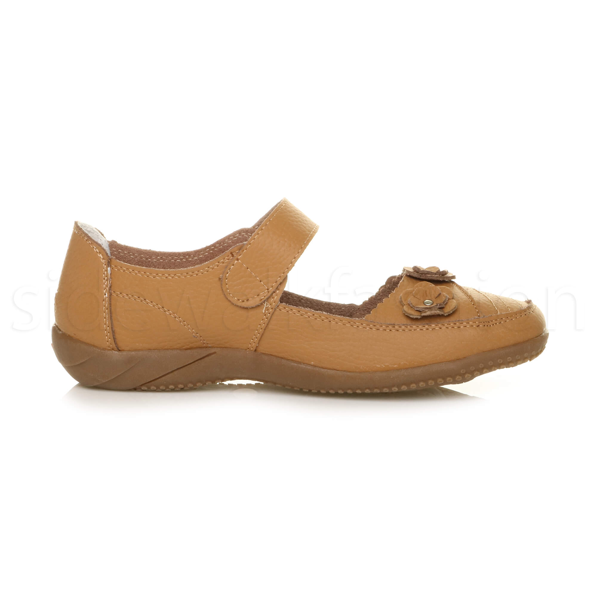 Womens-ladies-leather-comfort-walking-casual-sandals-mary-jane-strap-shoes-size thumbnail 19