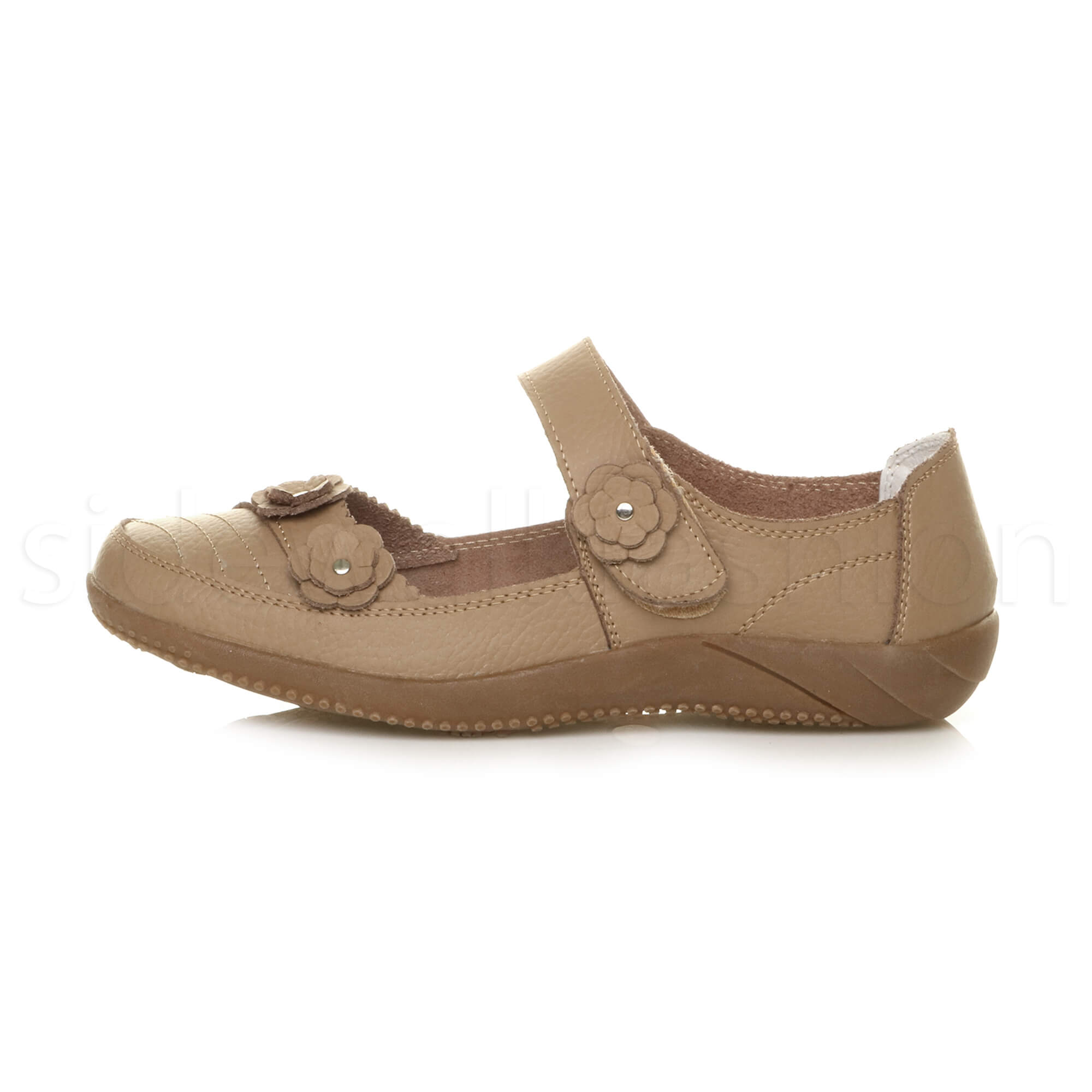 Womens-ladies-leather-comfort-walking-casual-sandals-mary-jane-strap-shoes-size thumbnail 3