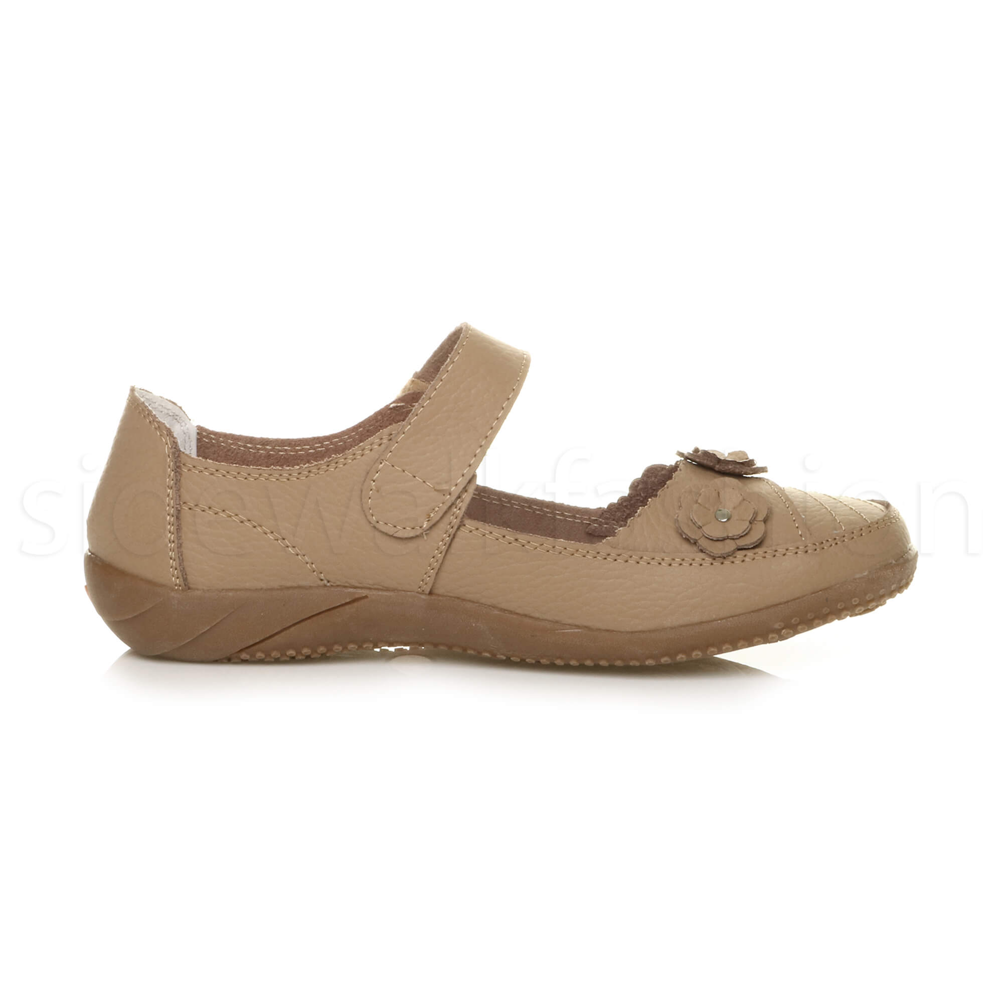 Womens-ladies-leather-comfort-walking-casual-sandals-mary-jane-strap-shoes-size thumbnail 4