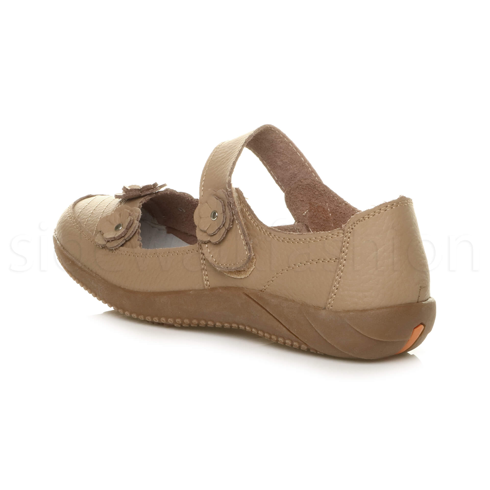 Womens-ladies-leather-comfort-walking-casual-sandals-mary-jane-strap-shoes-size thumbnail 5