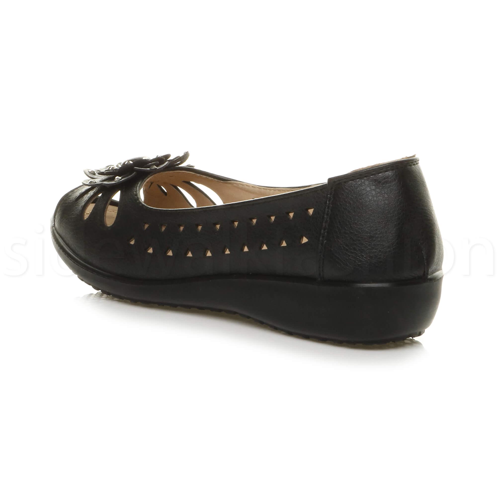 Womens Ladies Low Wedge Heel Cut Out Peep Toe Comfort