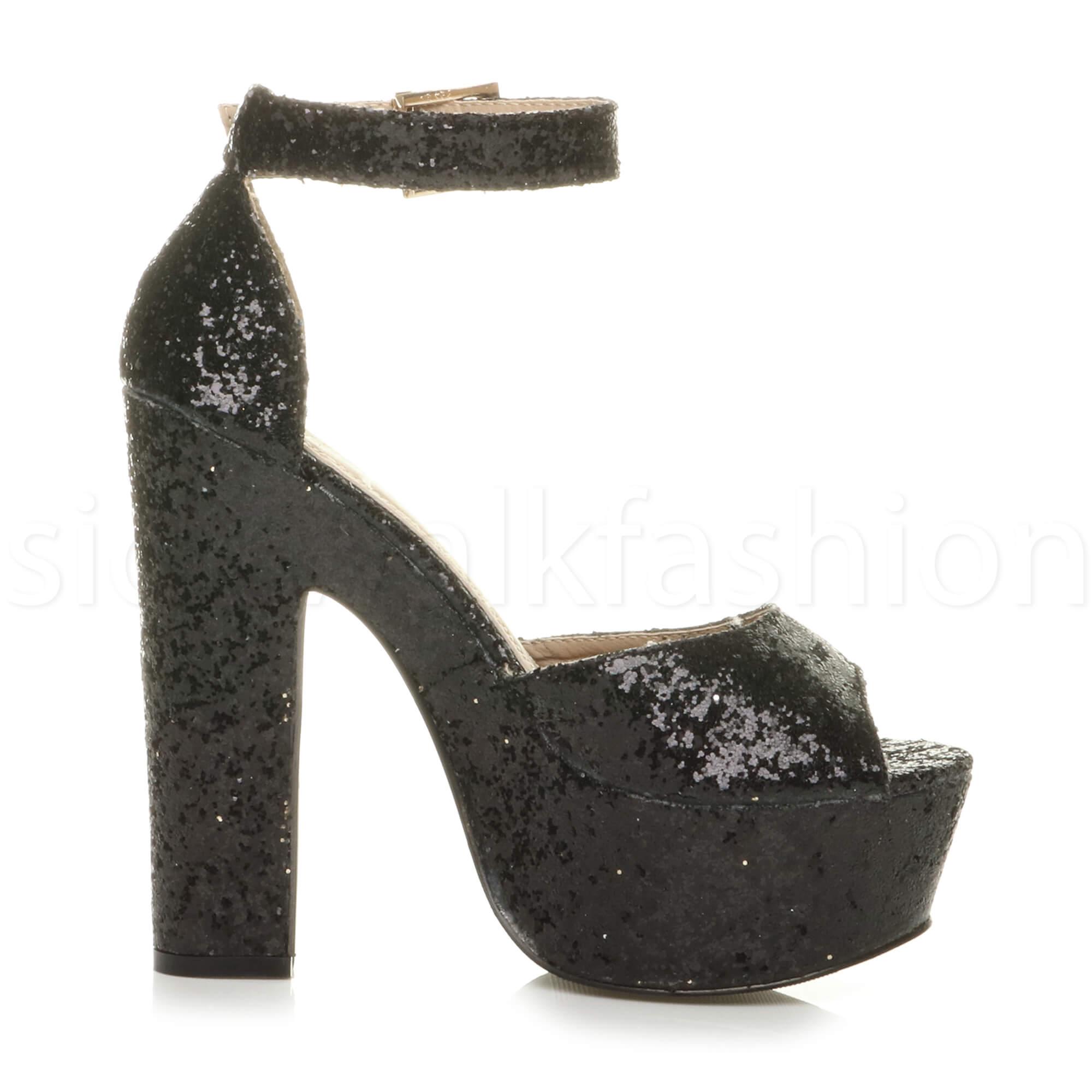 Womens-ladies-high-block-heel-peep-toe-shoes-evening-party-platform-sandals-size thumbnail 4
