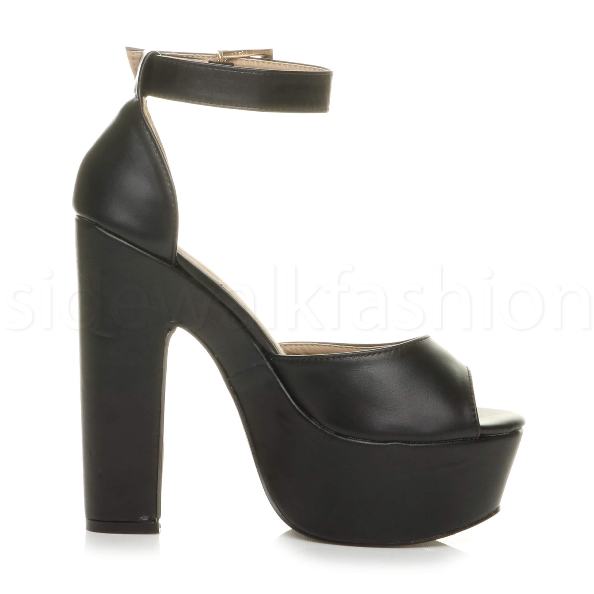 Womens-ladies-high-block-heel-peep-toe-shoes-evening-party-platform-sandals-size thumbnail 9