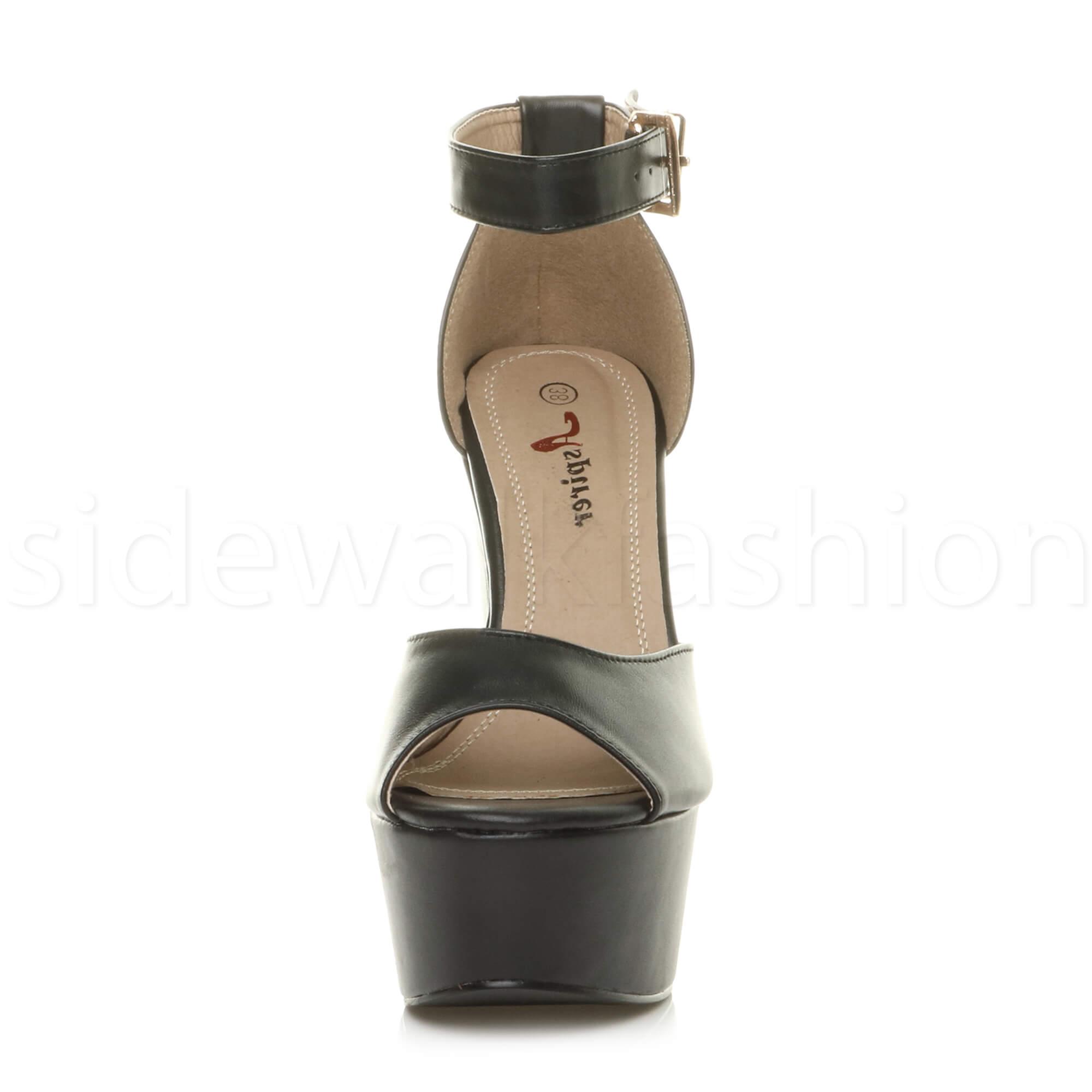 Womens-ladies-high-block-heel-peep-toe-shoes-evening-party-platform-sandals-size thumbnail 11