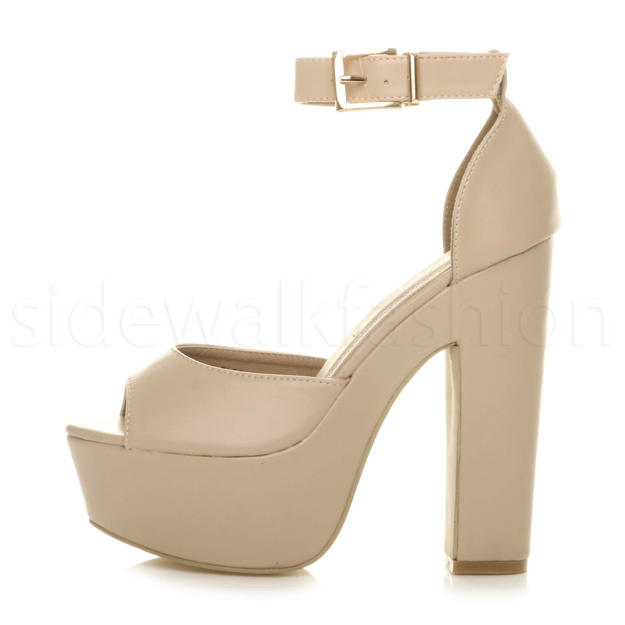 Womens-ladies-high-block-heel-peep-toe-shoes-evening-party-platform-sandals-size thumbnail 18