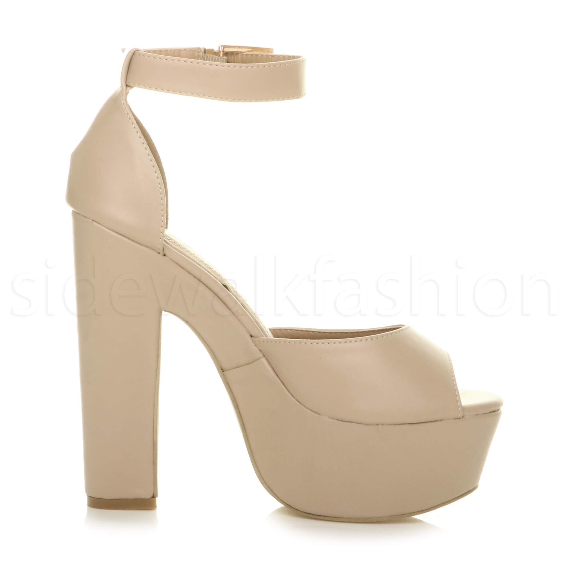 Womens-ladies-high-block-heel-peep-toe-shoes-evening-party-platform-sandals-size thumbnail 19