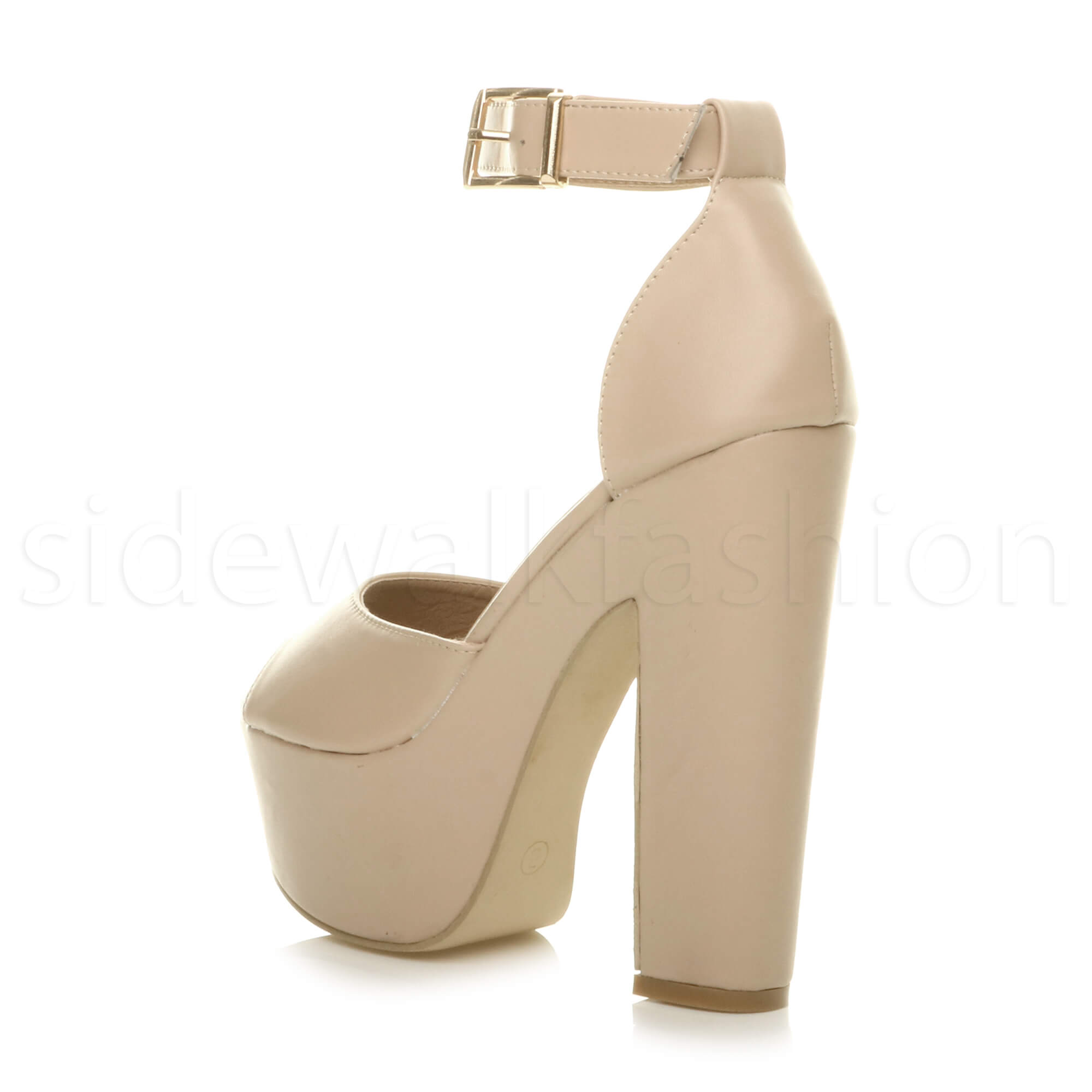 Womens-ladies-high-block-heel-peep-toe-shoes-evening-party-platform-sandals-size thumbnail 20