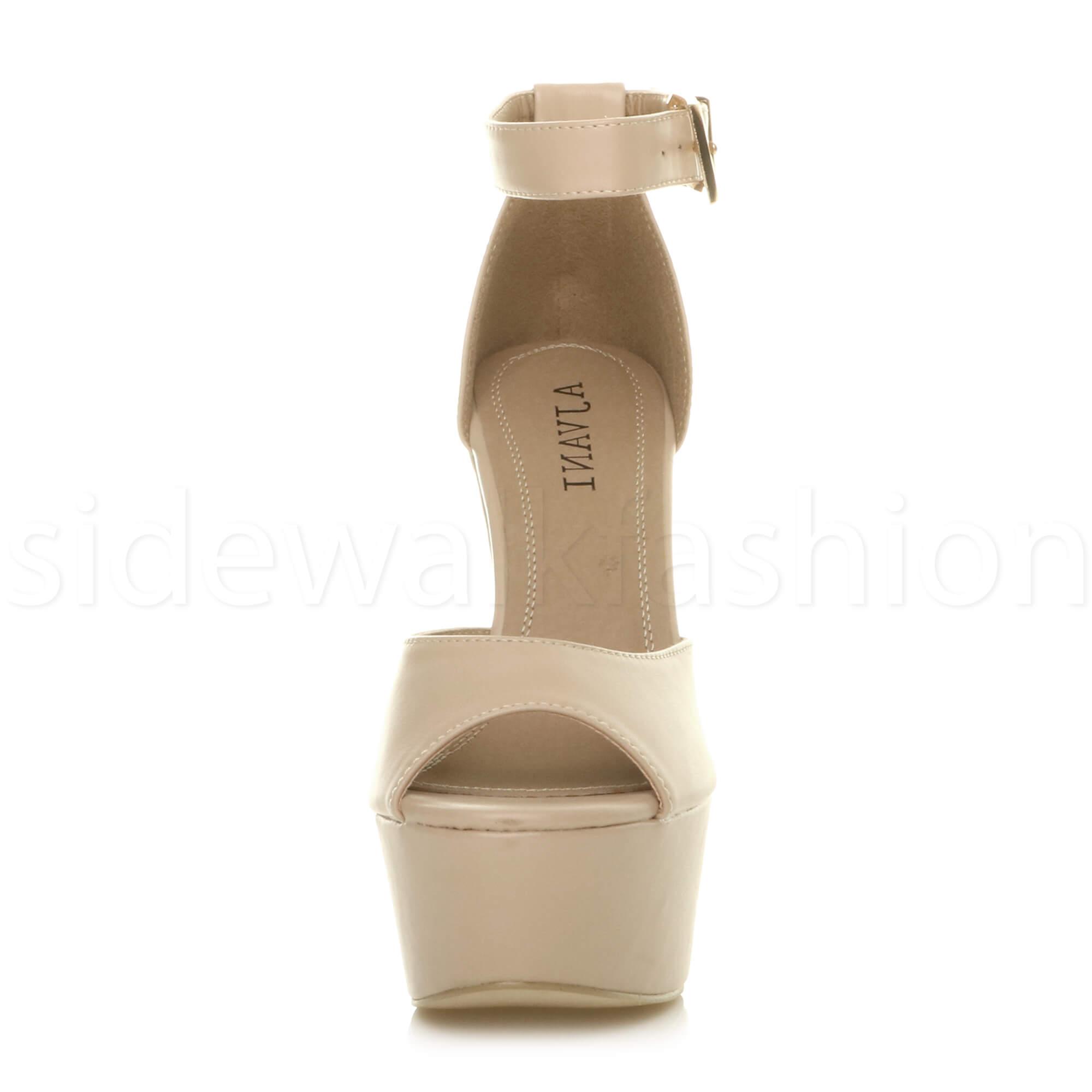 Womens-ladies-high-block-heel-peep-toe-shoes-evening-party-platform-sandals-size thumbnail 21