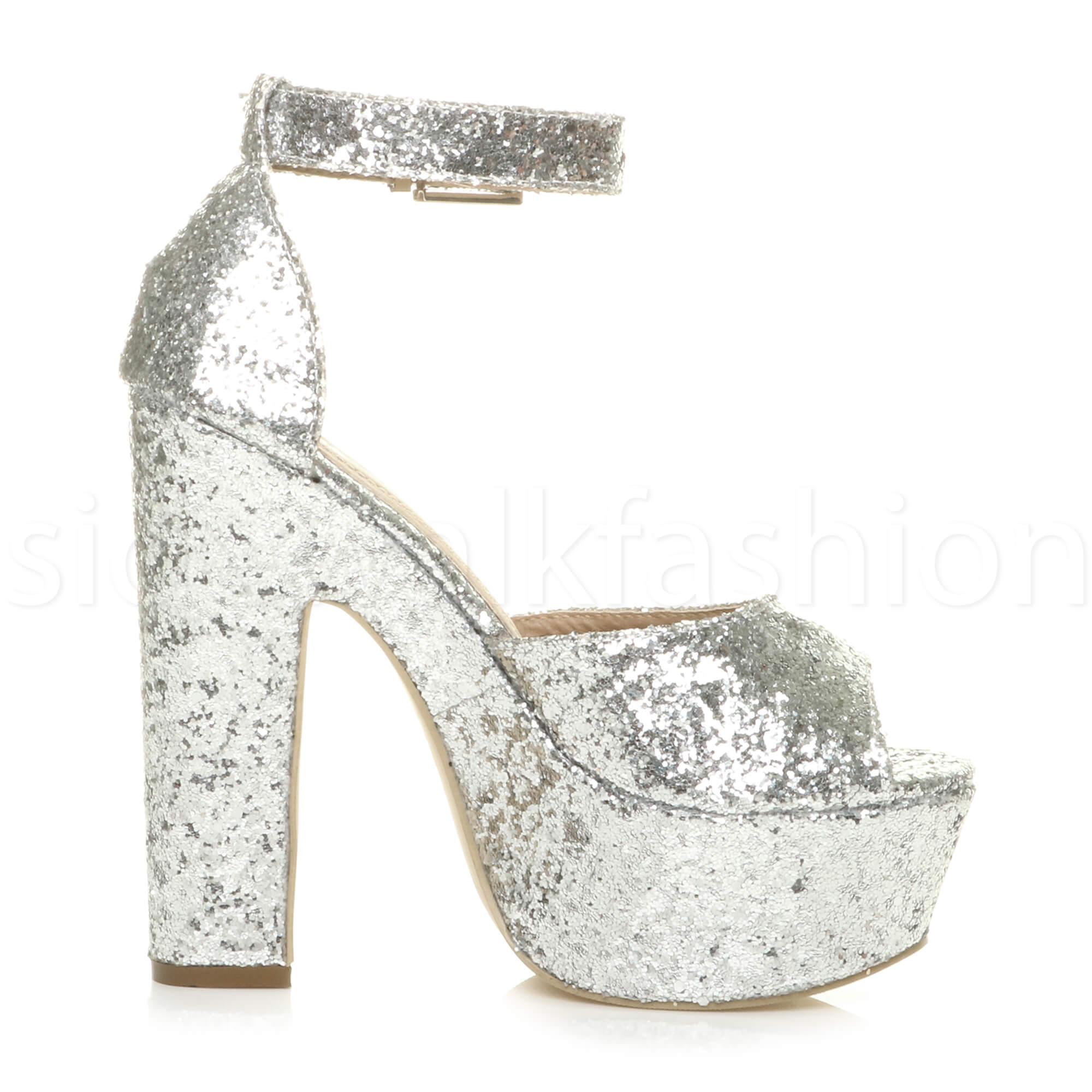 Womens-ladies-high-block-heel-peep-toe-shoes-evening-party-platform-sandals-size thumbnail 24