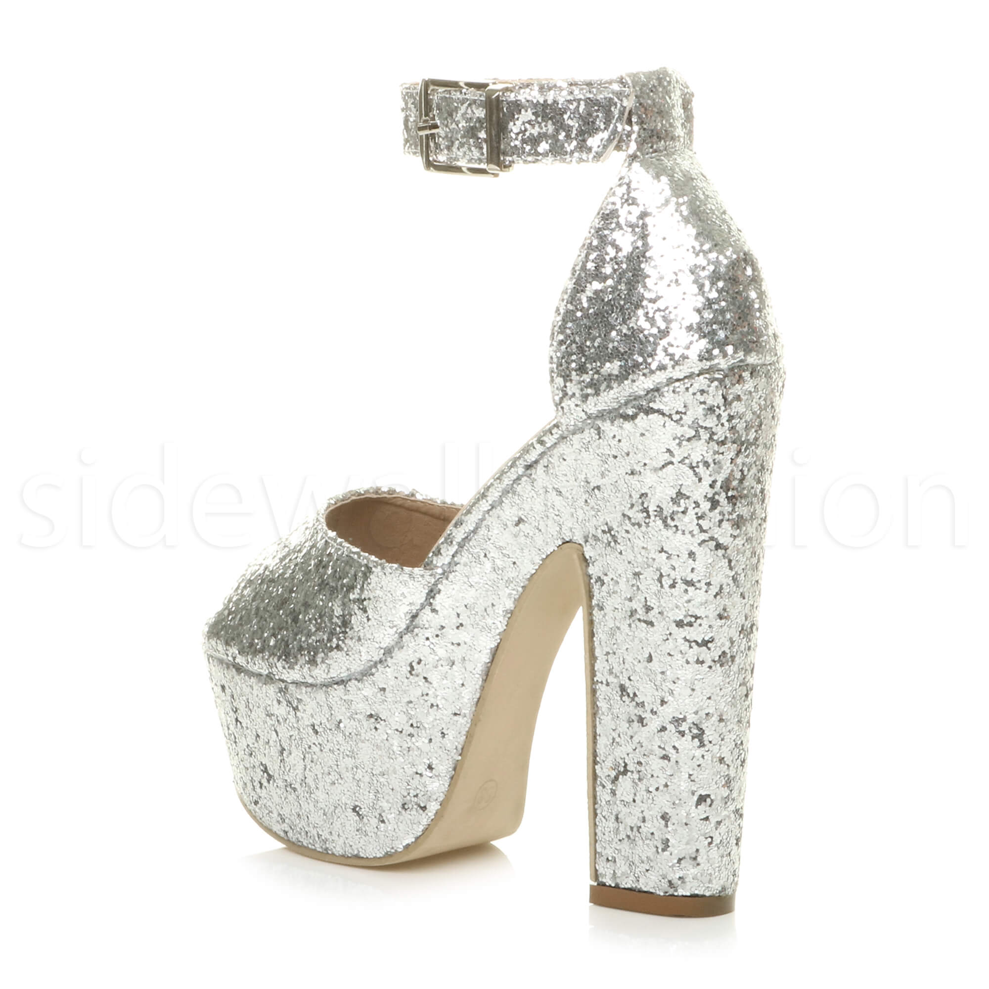 Womens-ladies-high-block-heel-peep-toe-shoes-evening-party-platform-sandals-size thumbnail 25