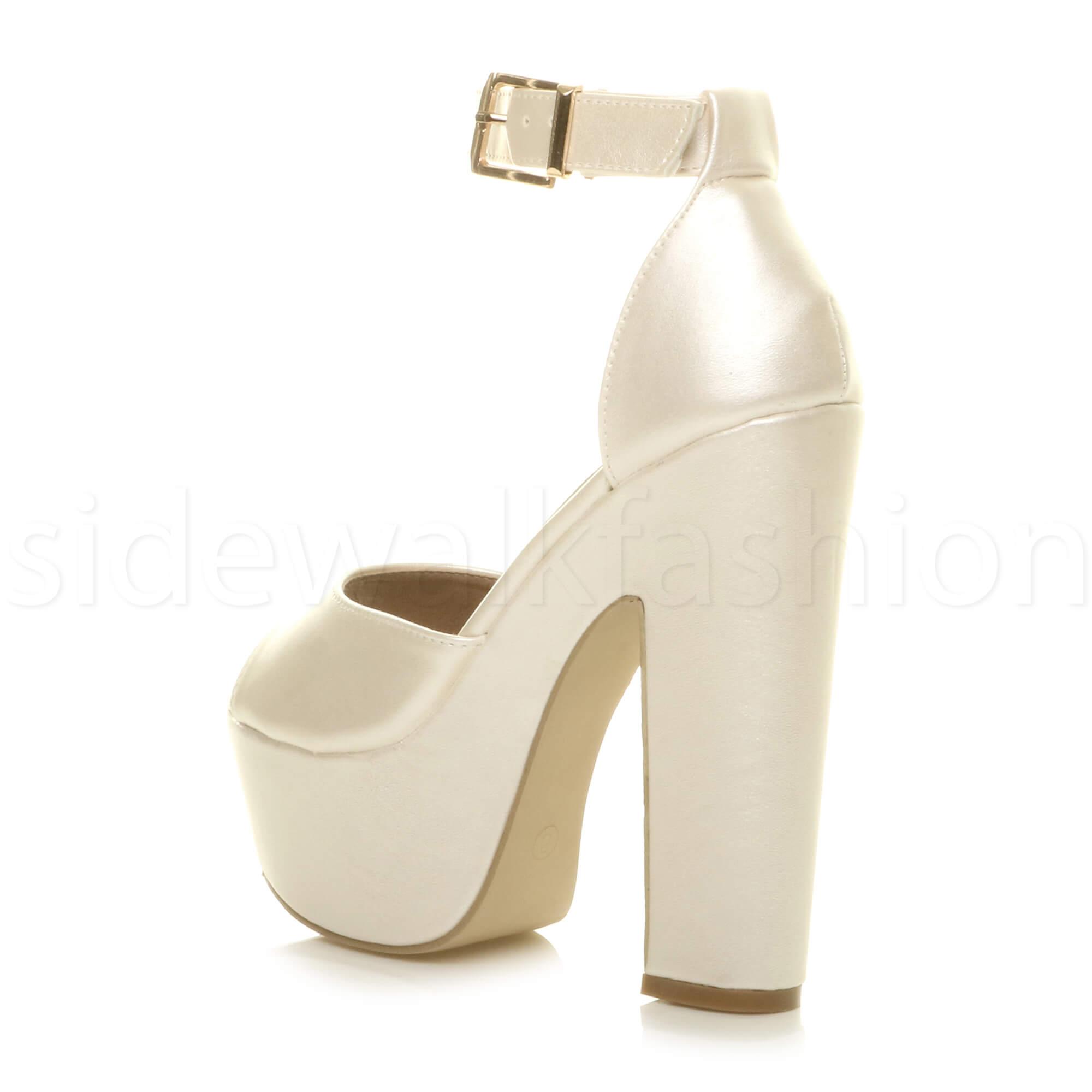 Womens-ladies-high-block-heel-peep-toe-shoes-evening-party-platform-sandals-size thumbnail 30