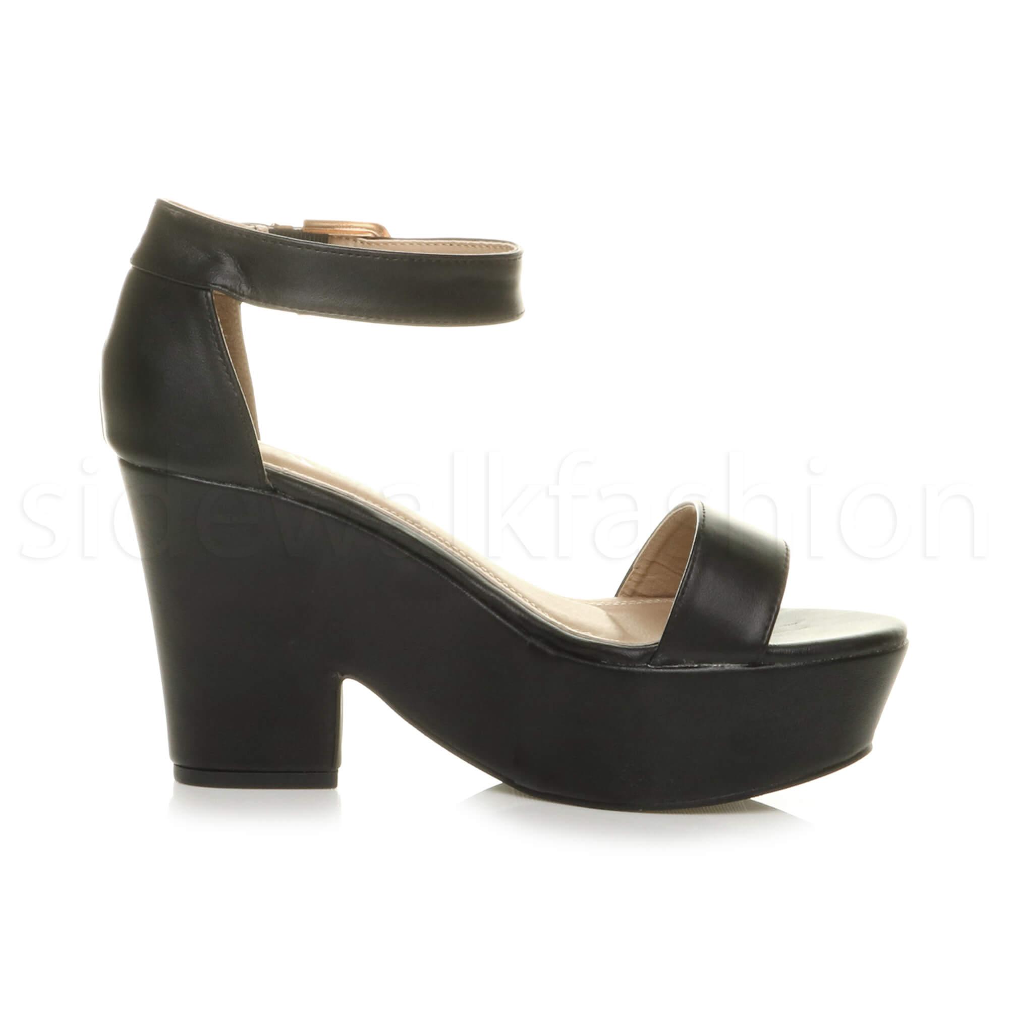 0edffdf4e14 Womens ladies platform high block heel semi wedge peep toe shoes ...
