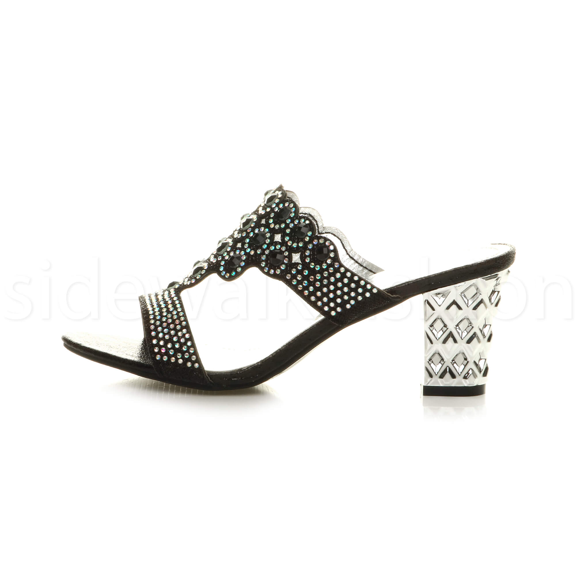 Womens-ladies-mid-heel-party-diamante-slip-on-strappy-mules-sandals-shoes-size thumbnail 3