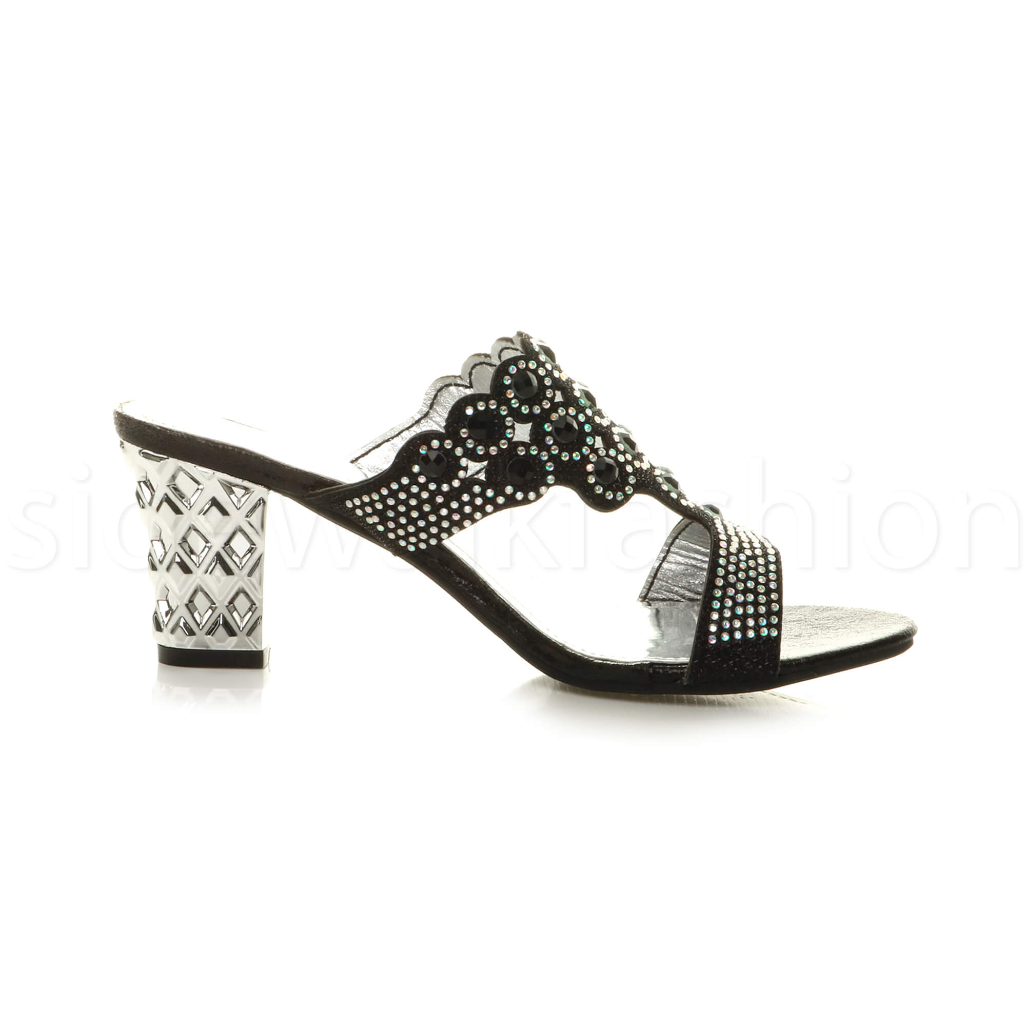 Womens-ladies-mid-heel-party-diamante-slip-on-strappy-mules-sandals-shoes-size thumbnail 4