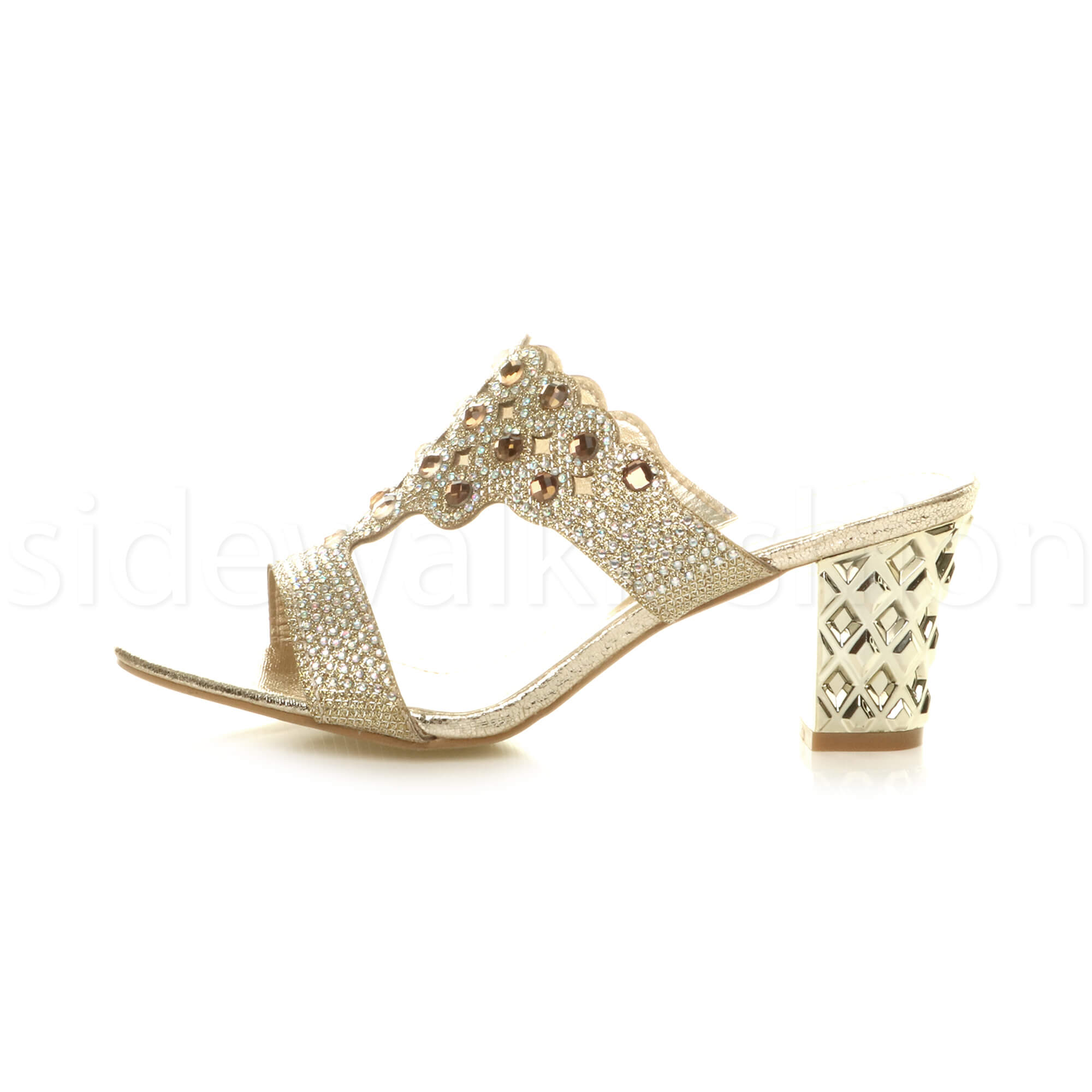 Womens-ladies-mid-heel-party-diamante-slip-on-strappy-mules-sandals-shoes-size thumbnail 8