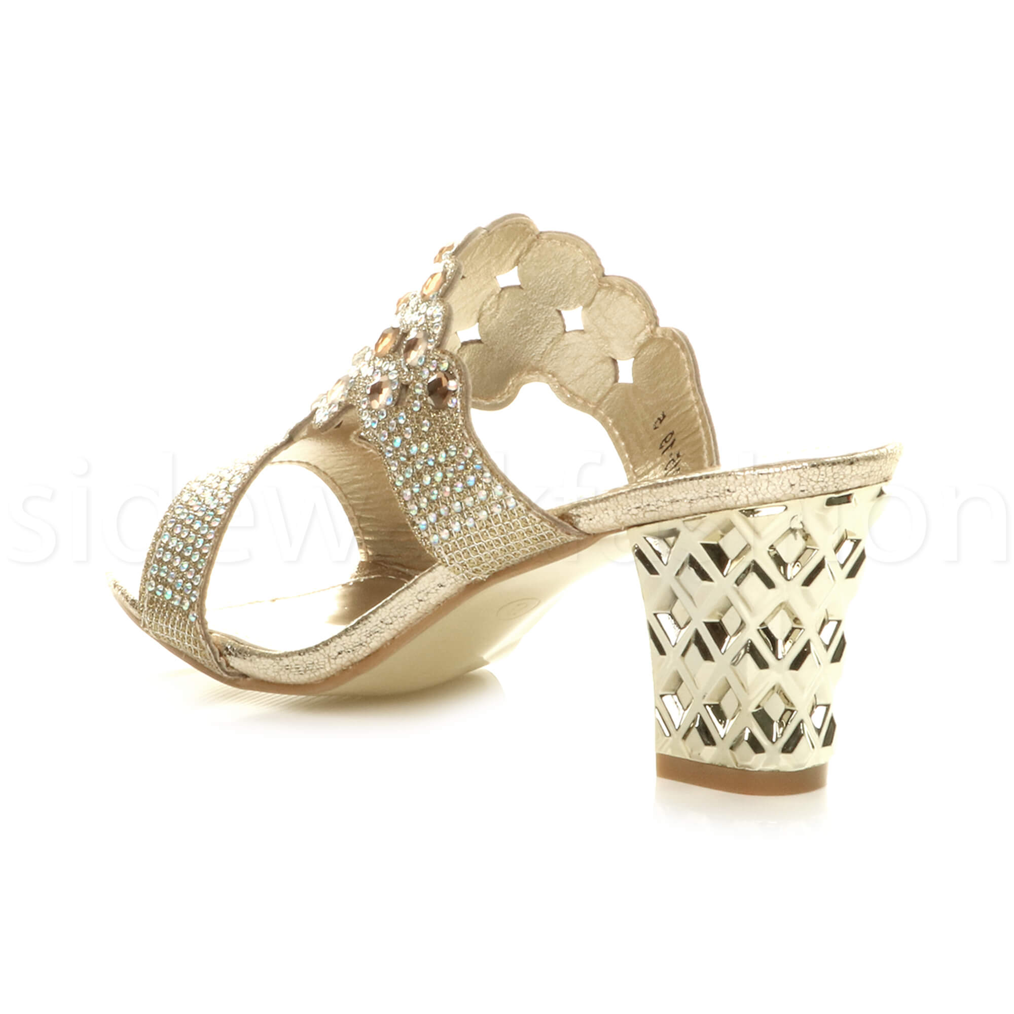 Womens-ladies-mid-heel-party-diamante-slip-on-strappy-mules-sandals-shoes-size thumbnail 10