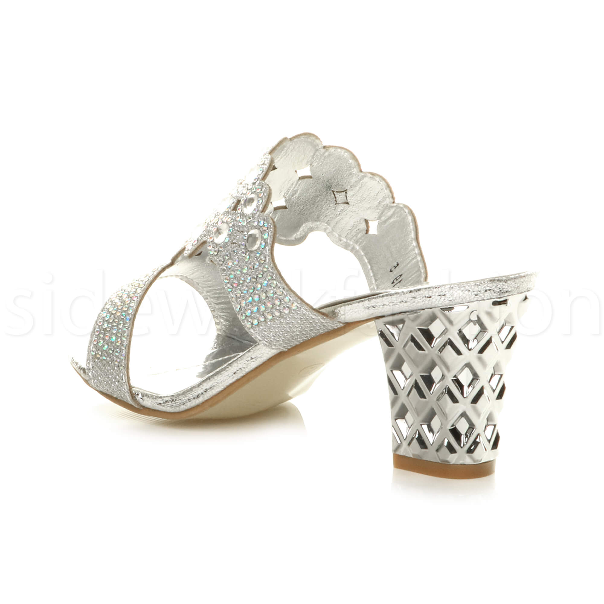 Womens-ladies-mid-heel-party-diamante-slip-on-strappy-mules-sandals-shoes-size thumbnail 15