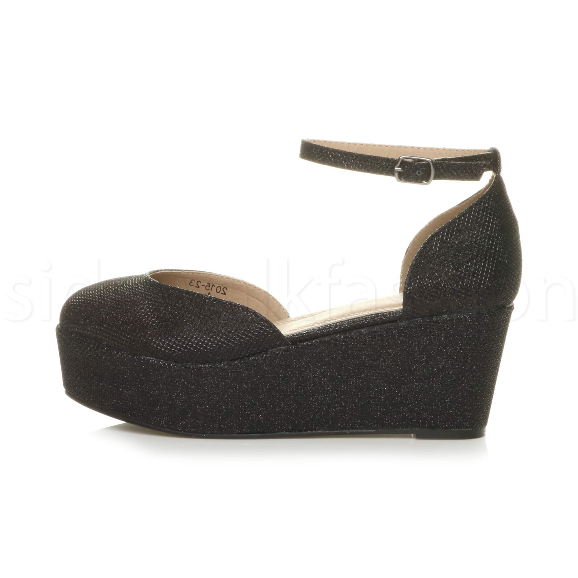 Womens-ladies-flatform-mid-wedge-ankle-strap-platform-court-shoes-sandals-size thumbnail 3