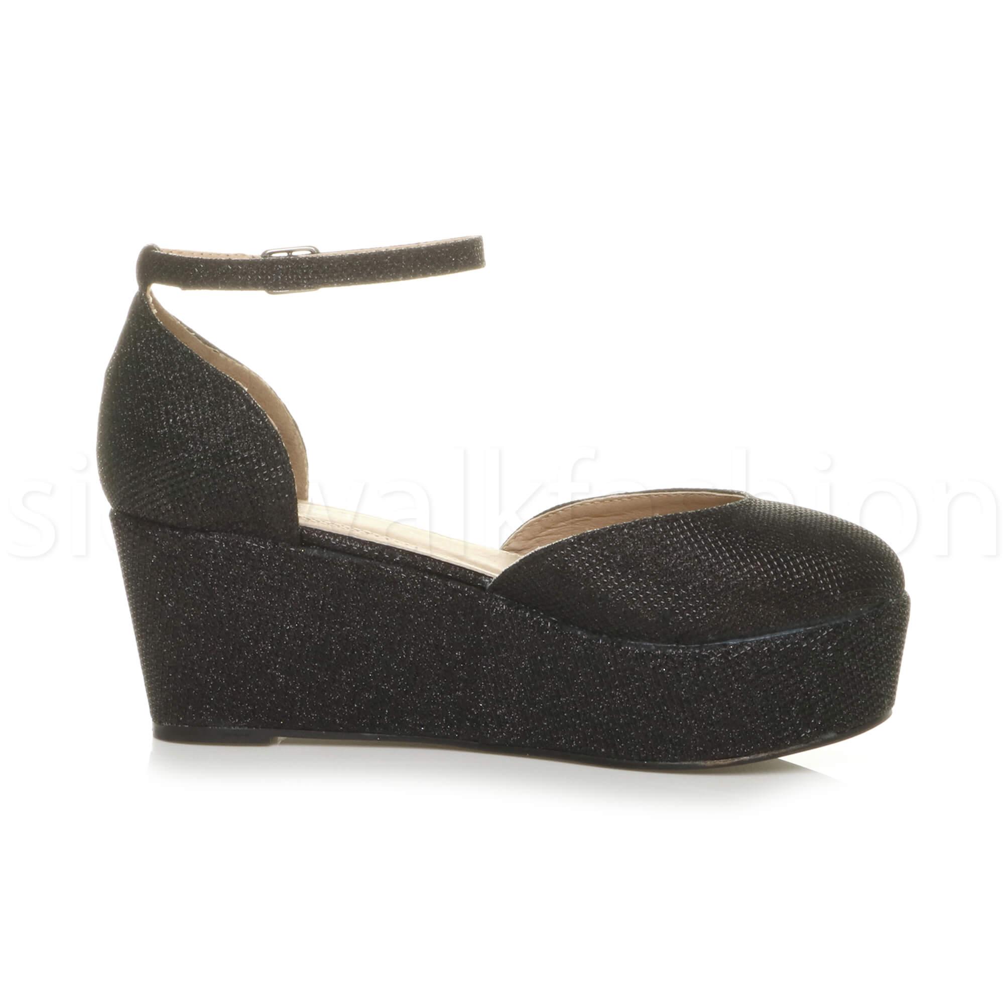 Womens-ladies-flatform-mid-wedge-ankle-strap-platform-court-shoes-sandals-size thumbnail 4