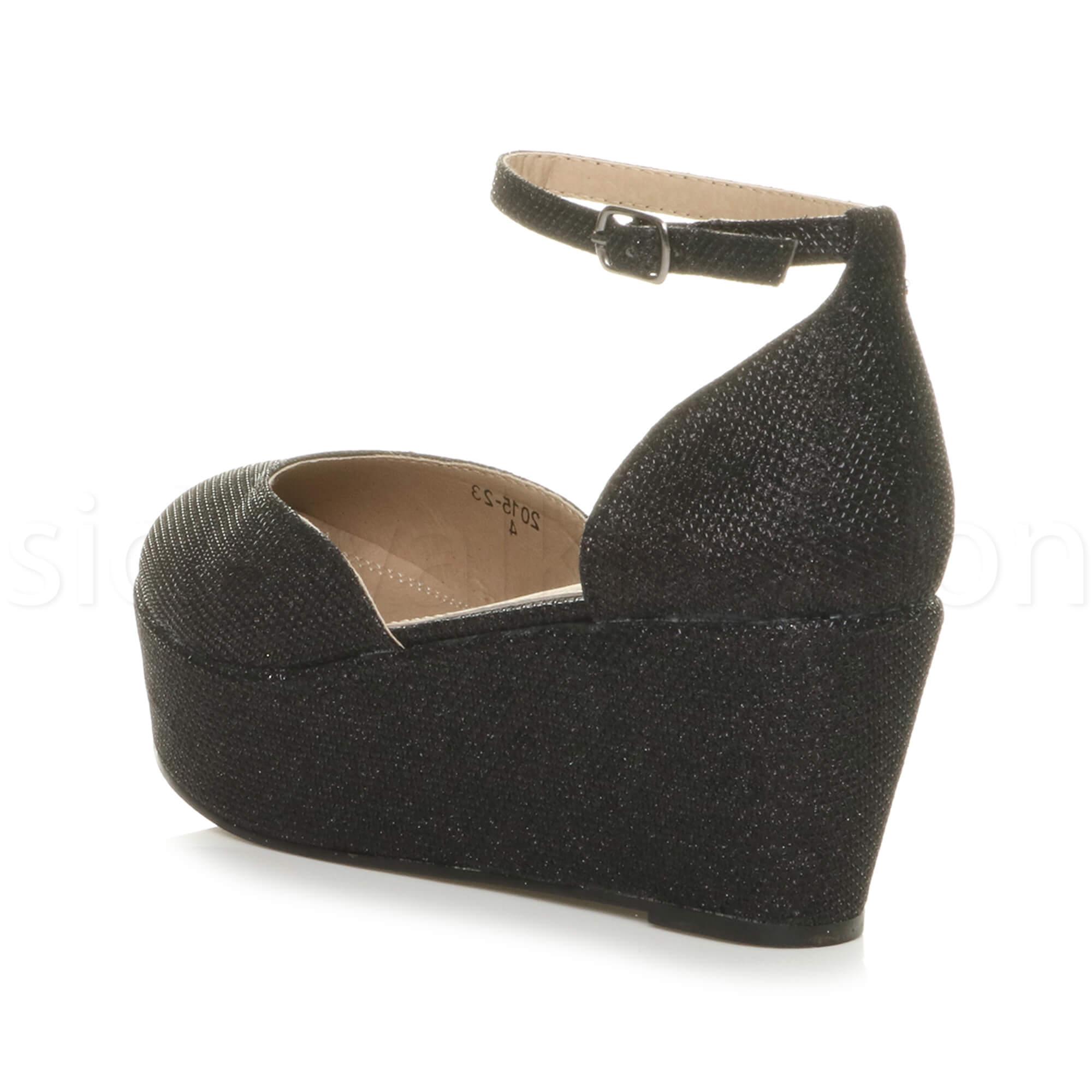 Womens-ladies-flatform-mid-wedge-ankle-strap-platform-court-shoes-sandals-size thumbnail 5