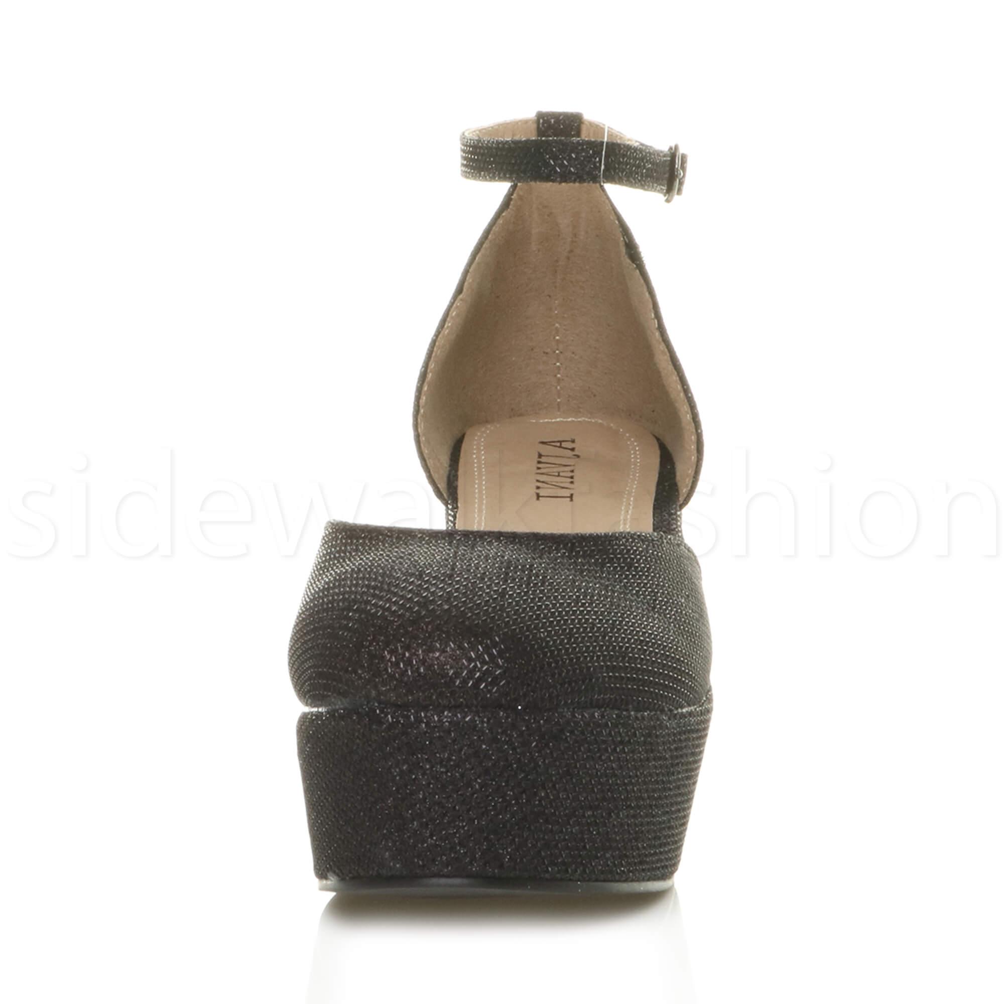 Womens-ladies-flatform-mid-wedge-ankle-strap-platform-court-shoes-sandals-size thumbnail 7