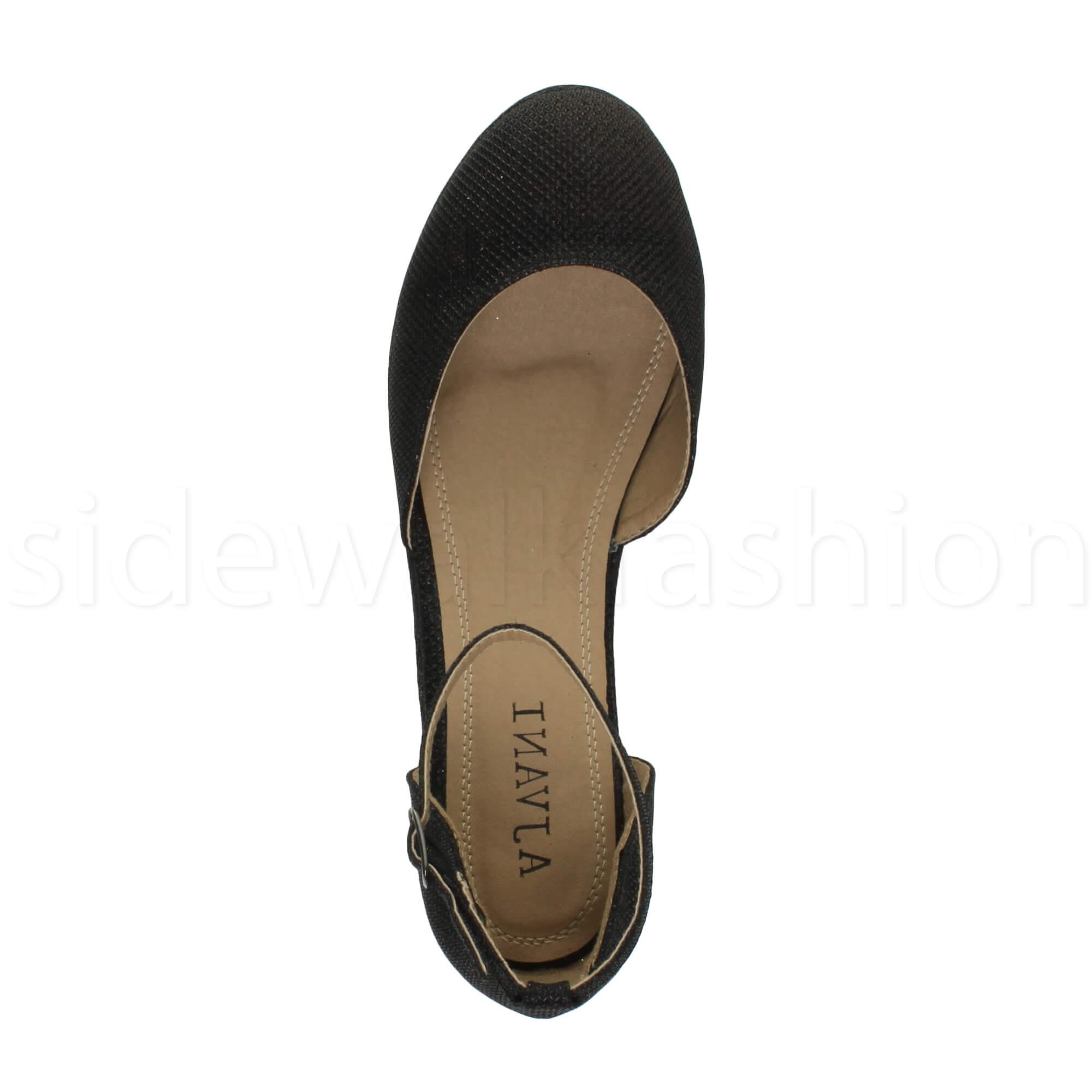 Womens-ladies-flatform-mid-wedge-ankle-strap-platform-court-shoes-sandals-size thumbnail 8