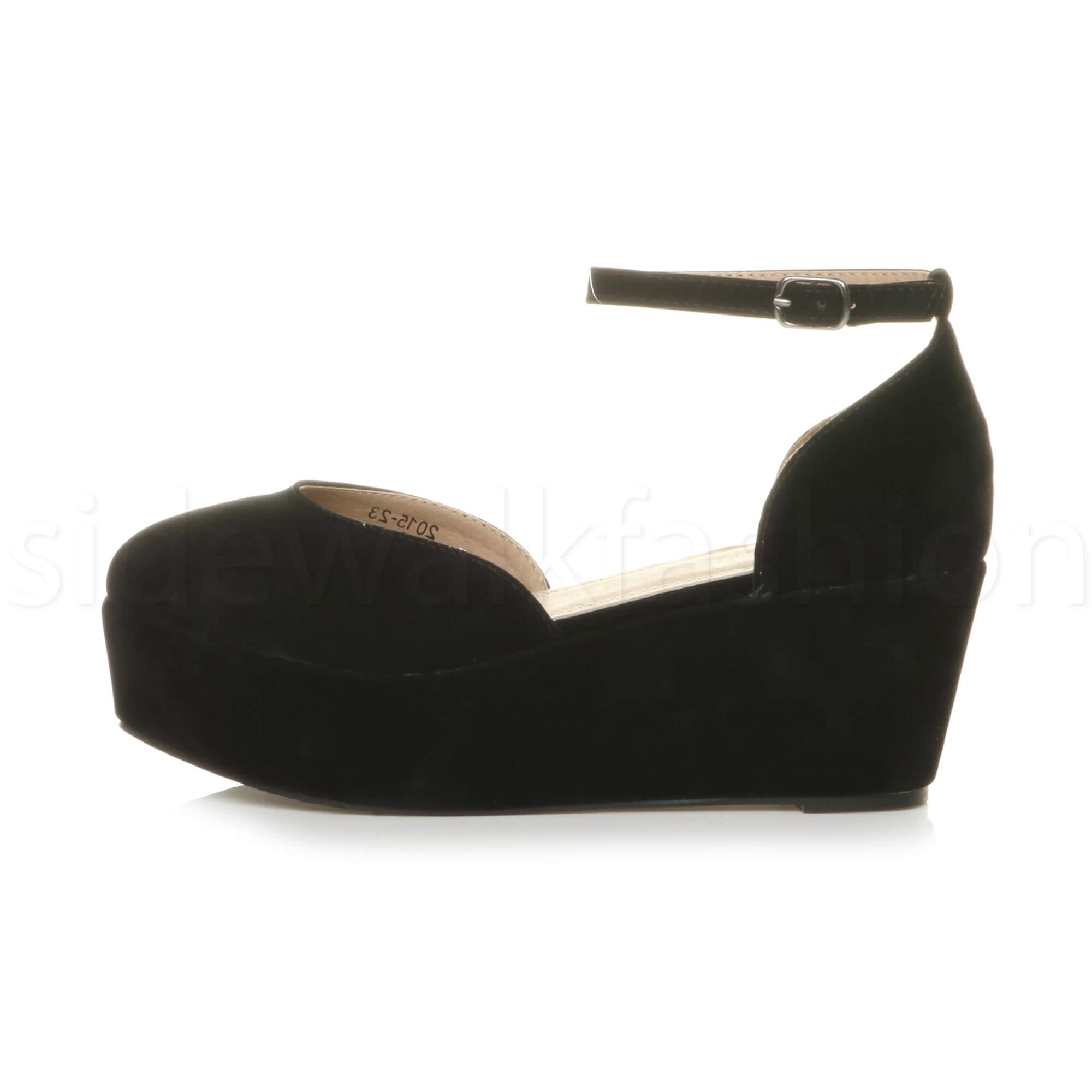 Womens-ladies-flatform-mid-wedge-ankle-strap-platform-court-shoes-sandals-size thumbnail 11