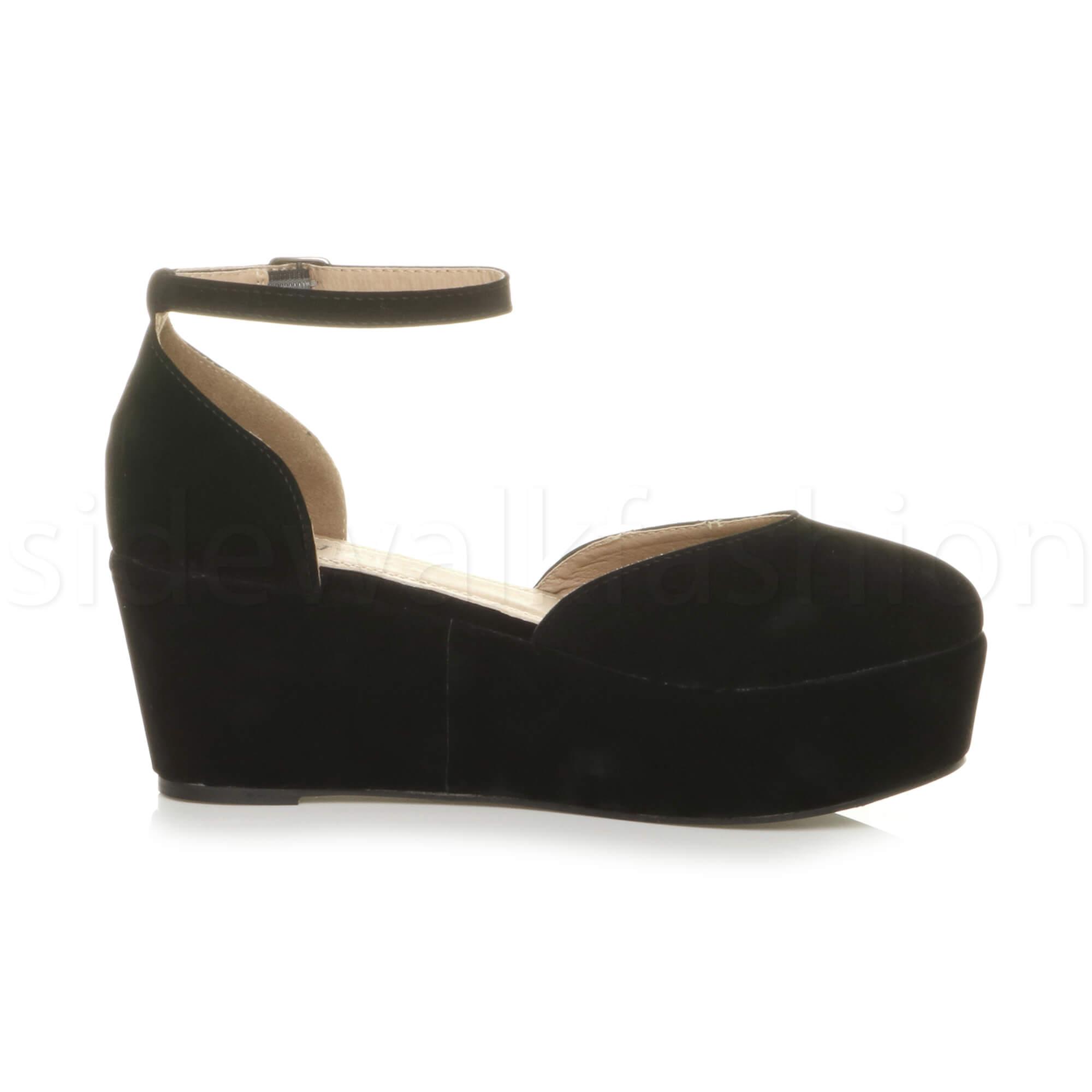 Womens-ladies-flatform-mid-wedge-ankle-strap-platform-court-shoes-sandals-size thumbnail 12