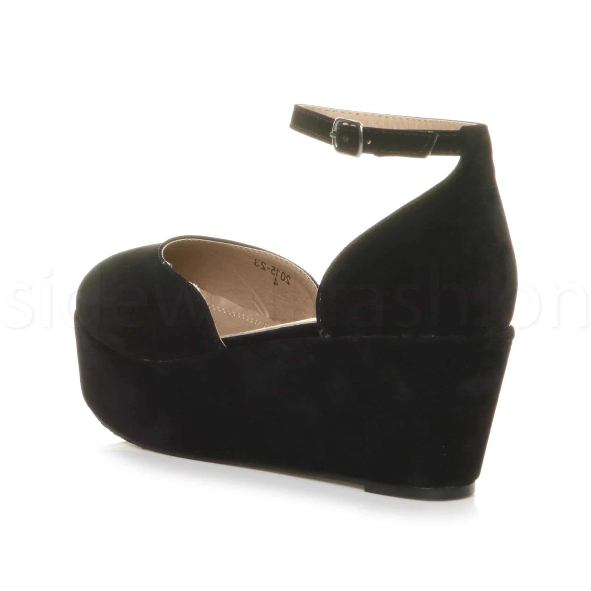 Womens-ladies-flatform-mid-wedge-ankle-strap-platform-court-shoes-sandals-size thumbnail 13