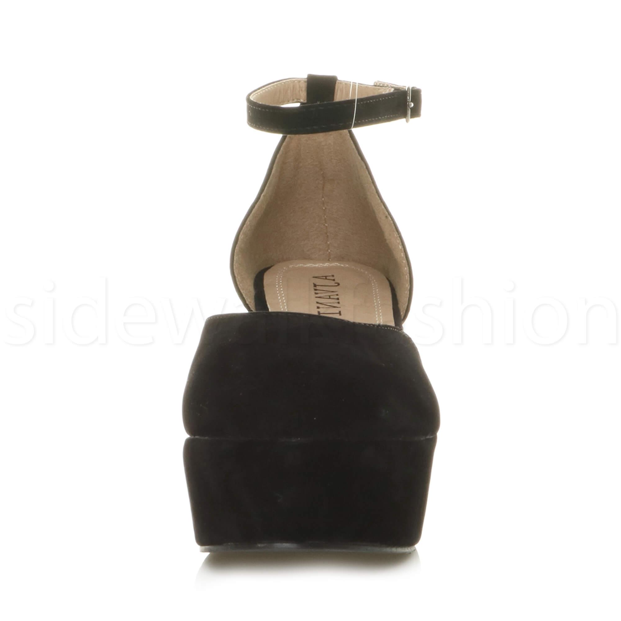 Womens-ladies-flatform-mid-wedge-ankle-strap-platform-court-shoes-sandals-size thumbnail 15