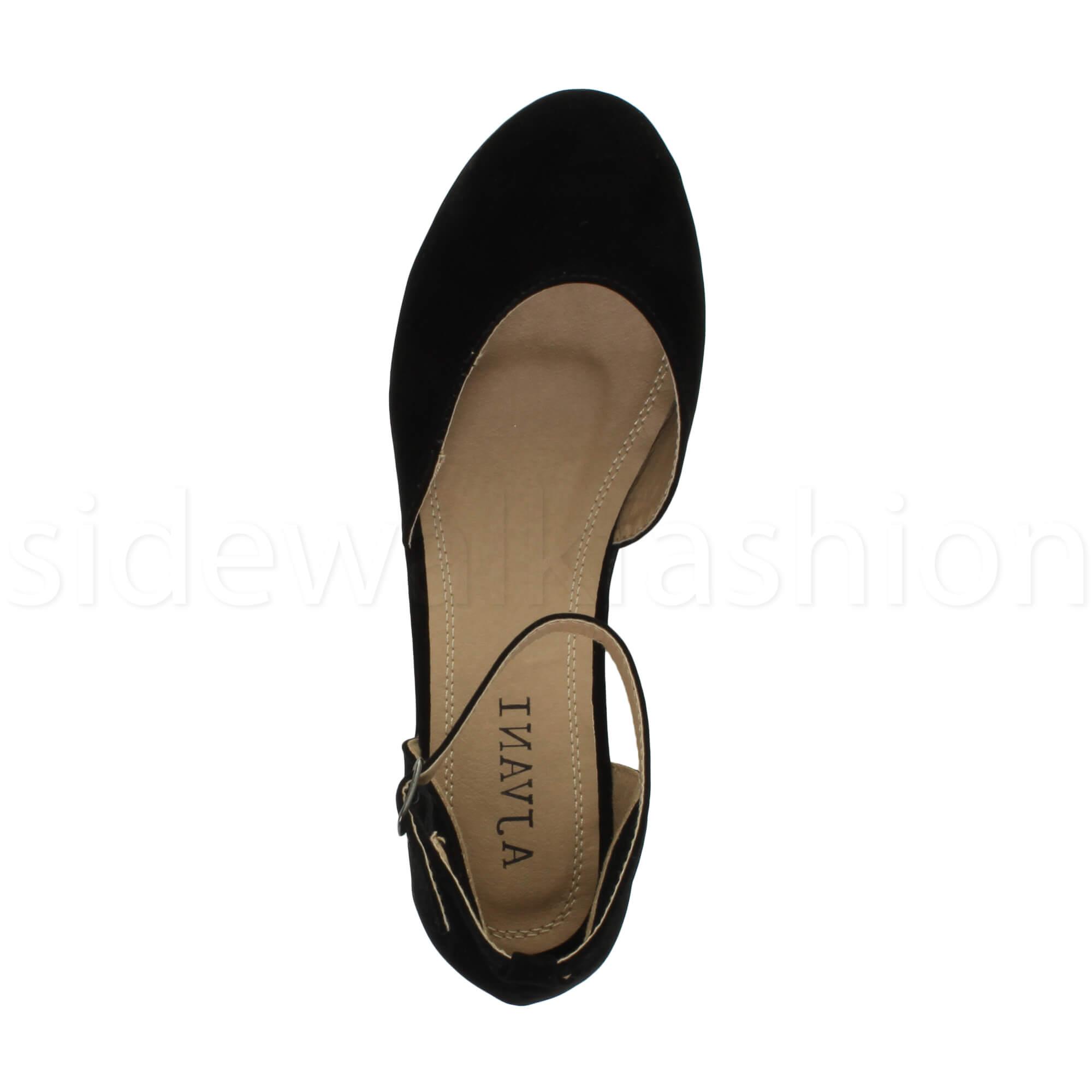 Womens-ladies-flatform-mid-wedge-ankle-strap-platform-court-shoes-sandals-size thumbnail 16