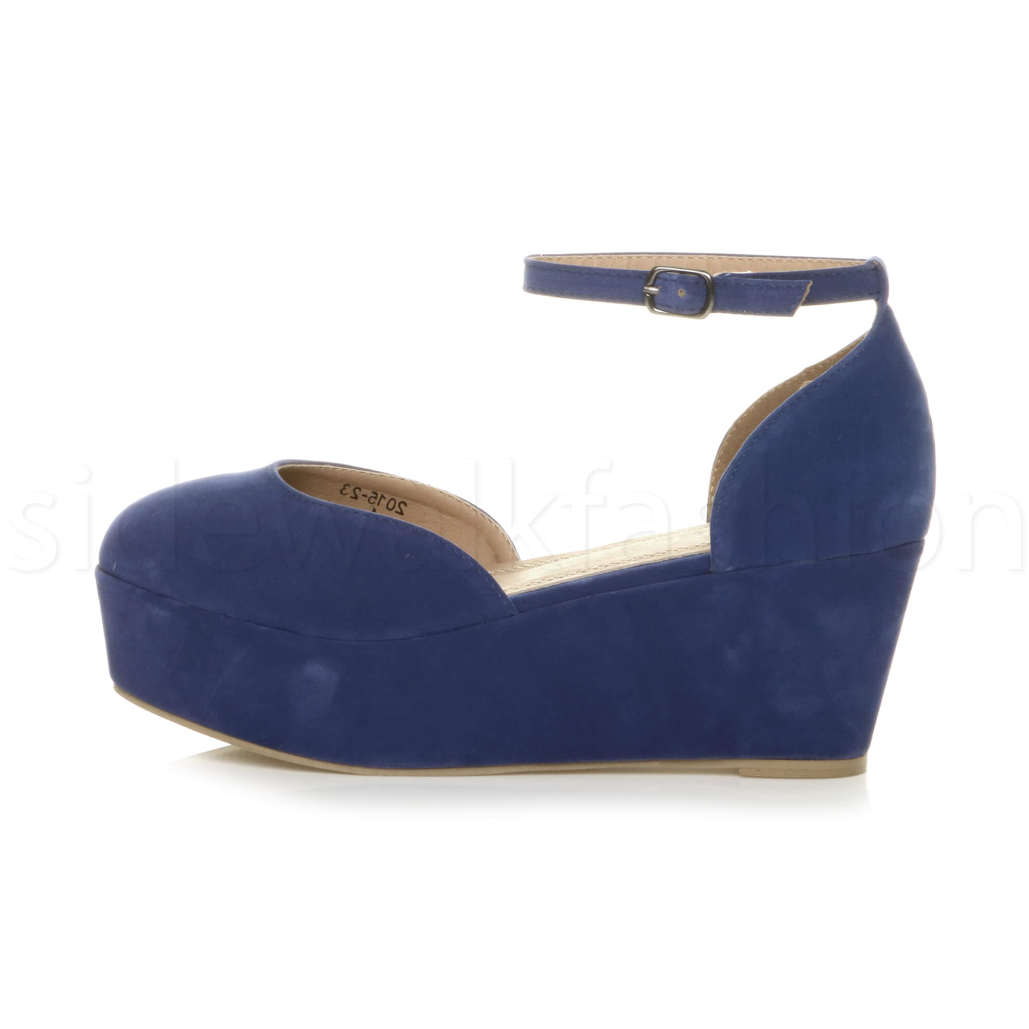 Womens-ladies-flatform-mid-wedge-ankle-strap-platform-court-shoes-sandals-size thumbnail 19