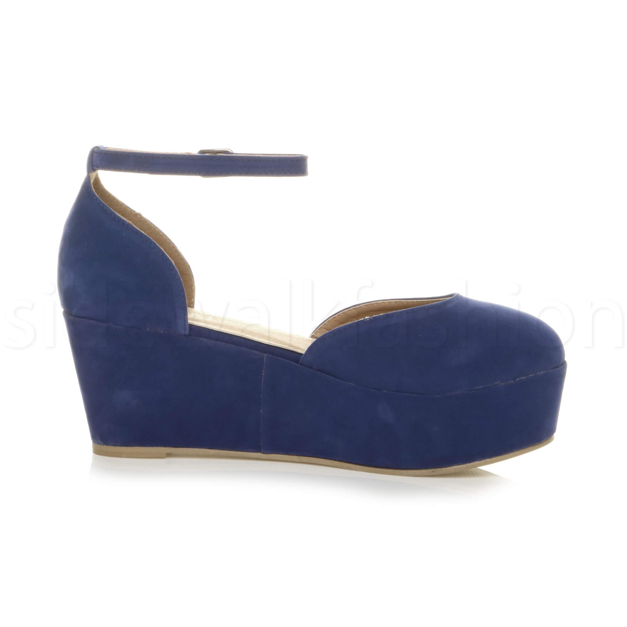 Womens-ladies-flatform-mid-wedge-ankle-strap-platform-court-shoes-sandals-size thumbnail 20