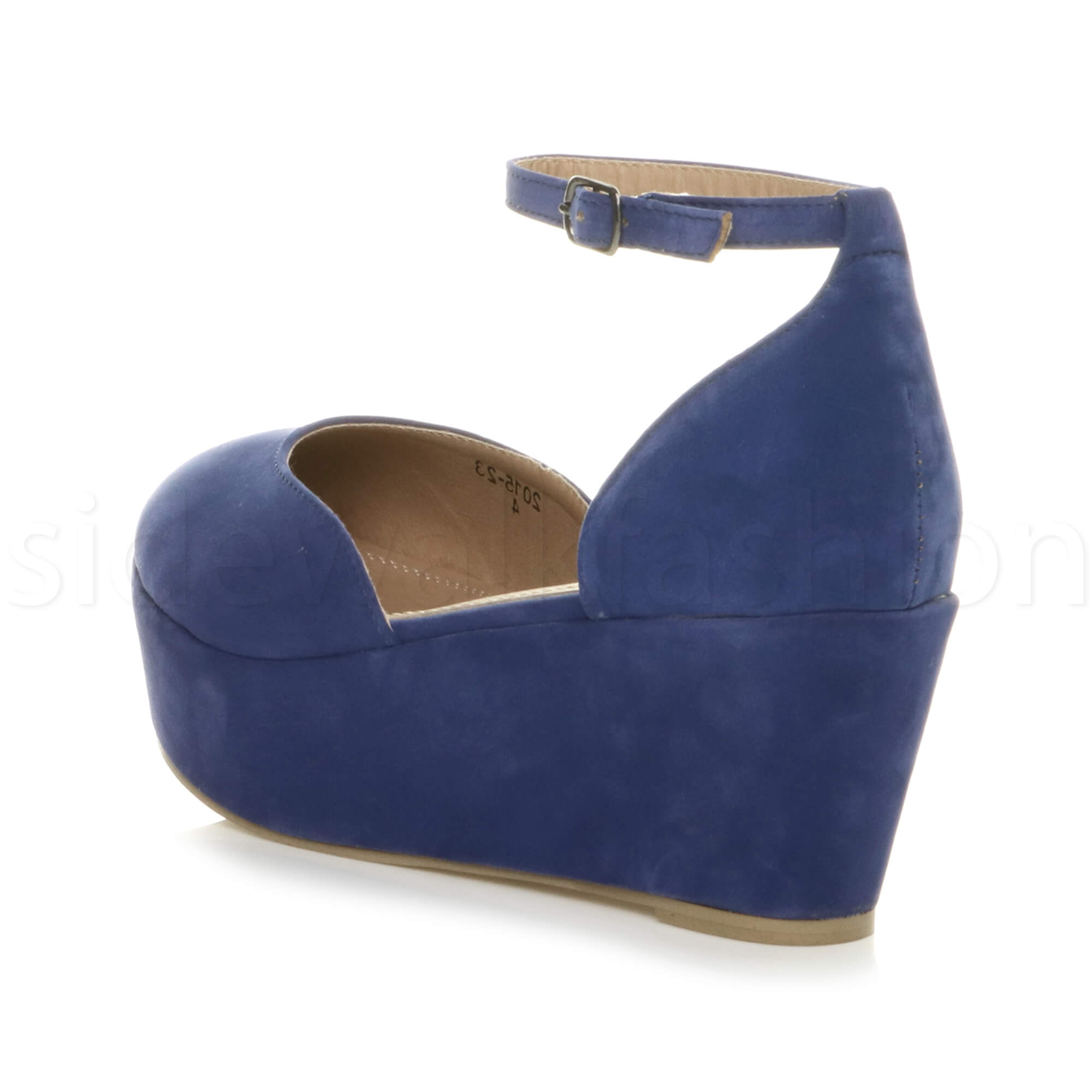 Womens-ladies-flatform-mid-wedge-ankle-strap-platform-court-shoes-sandals-size thumbnail 21