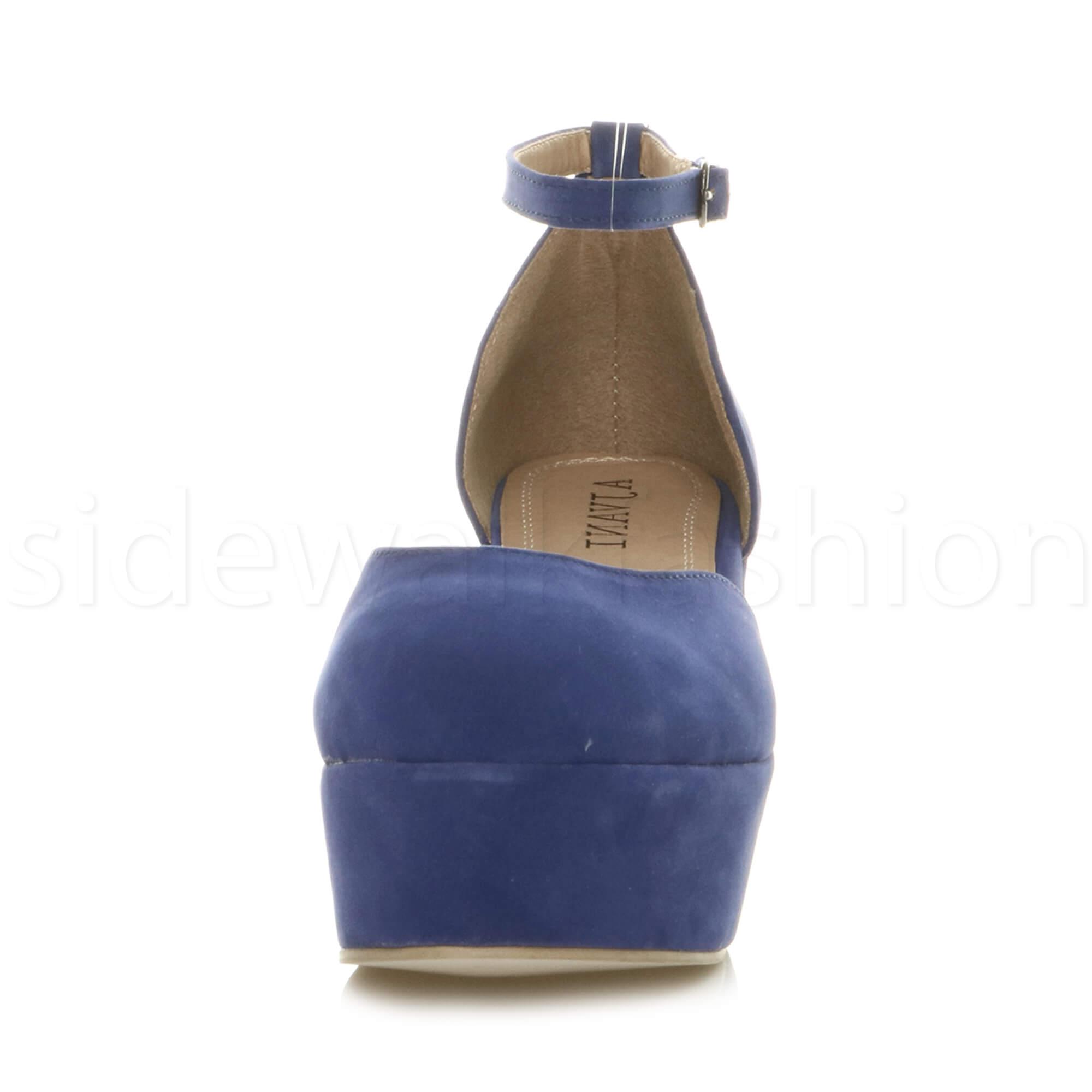 Womens-ladies-flatform-mid-wedge-ankle-strap-platform-court-shoes-sandals-size thumbnail 23