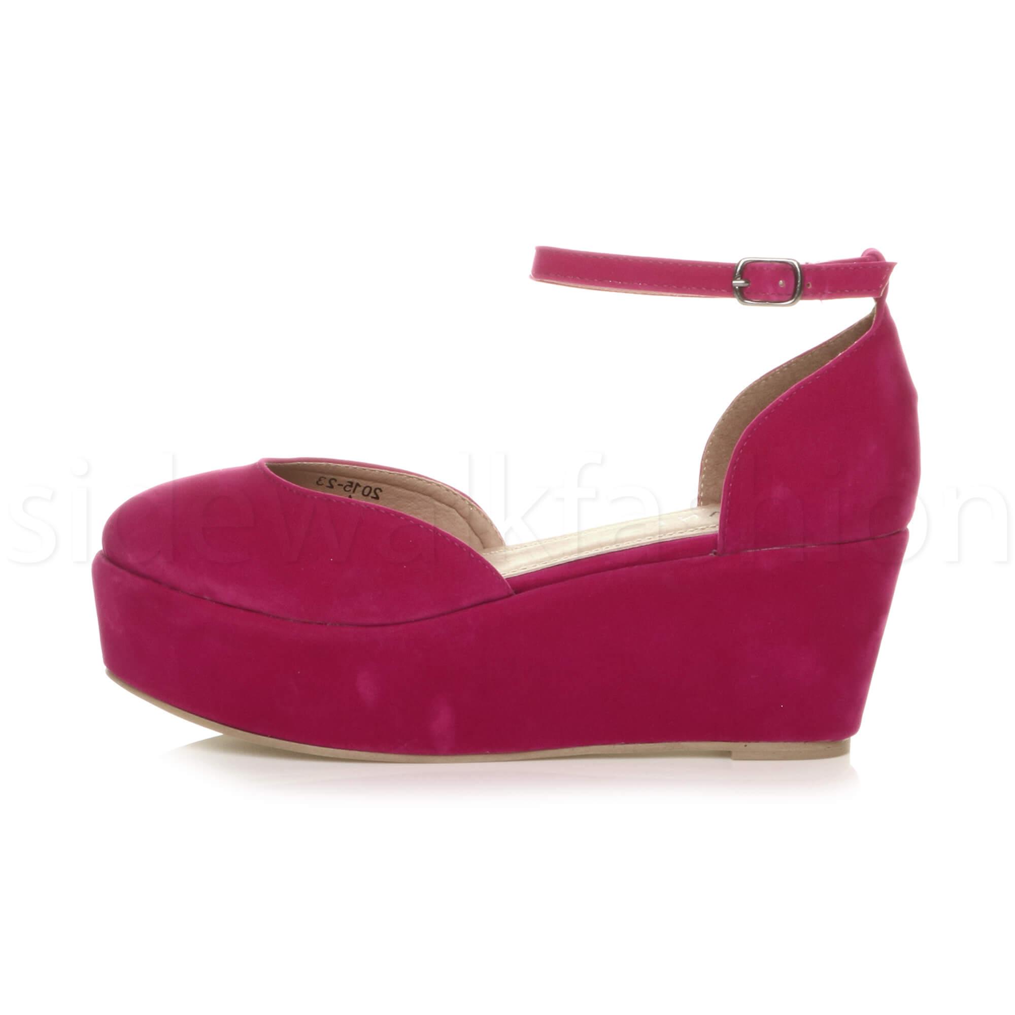 Womens-ladies-flatform-mid-wedge-ankle-strap-platform-court-shoes-sandals-size thumbnail 27