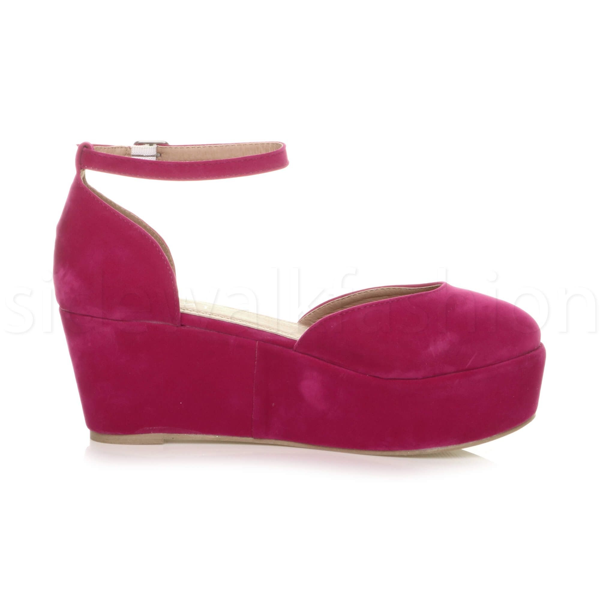 Womens-ladies-flatform-mid-wedge-ankle-strap-platform-court-shoes-sandals-size thumbnail 28