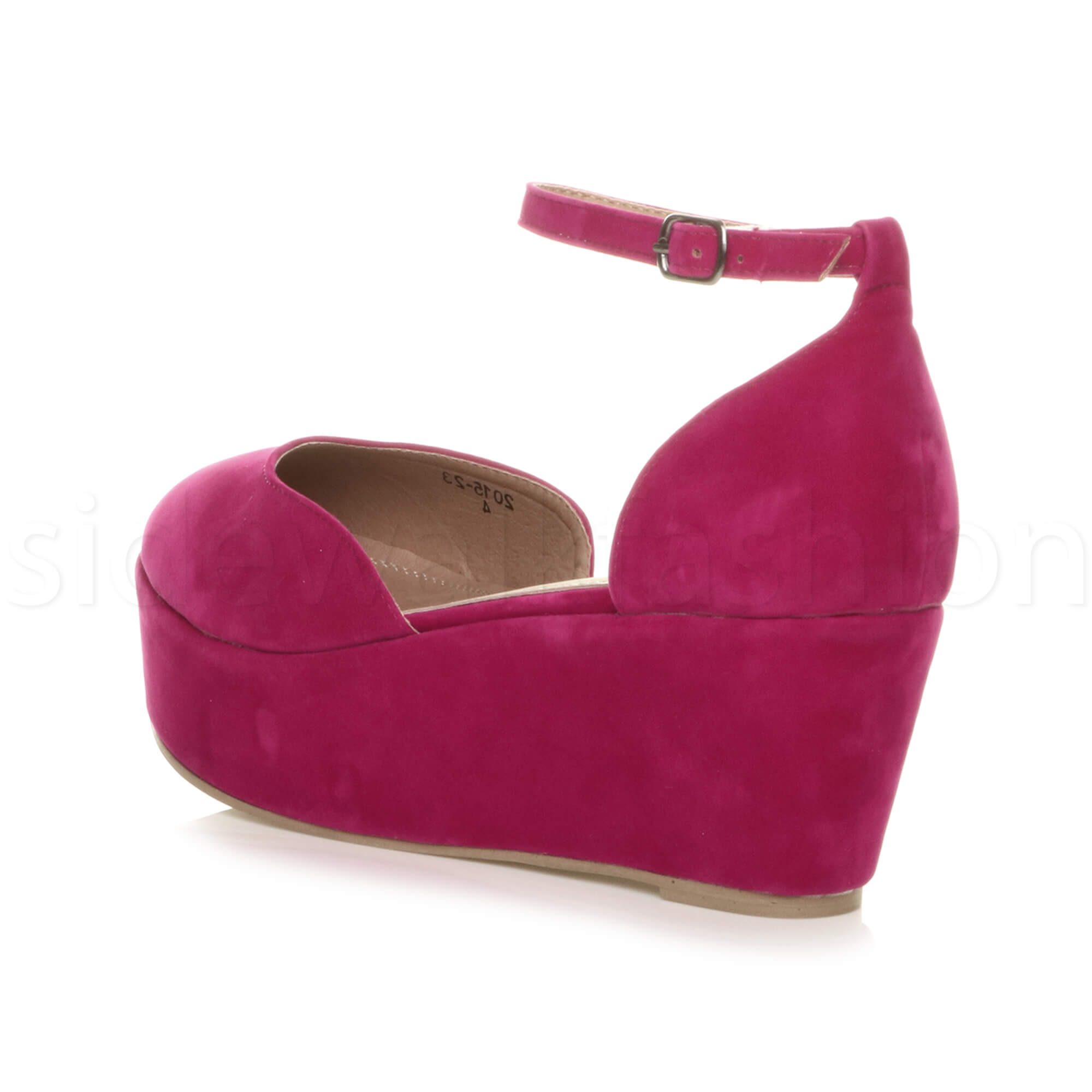Womens-ladies-flatform-mid-wedge-ankle-strap-platform-court-shoes-sandals-size thumbnail 29