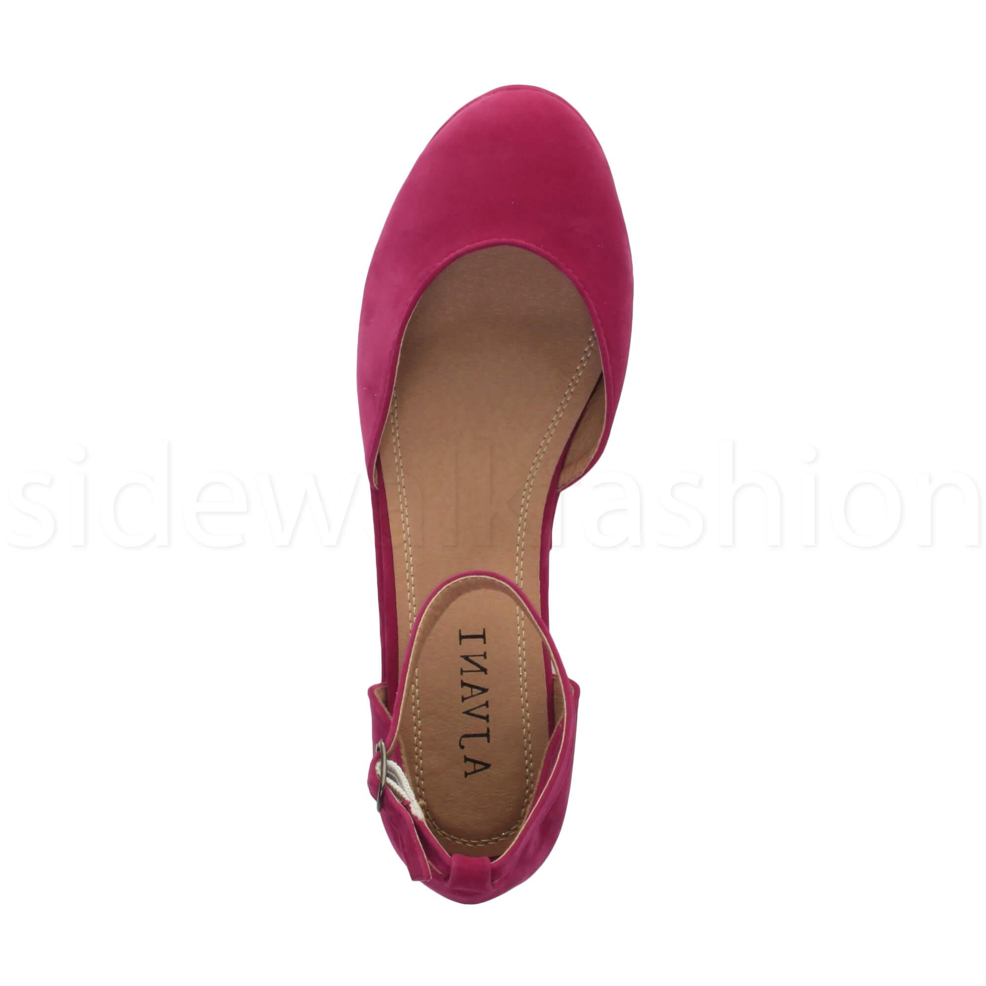 Womens-ladies-flatform-mid-wedge-ankle-strap-platform-court-shoes-sandals-size thumbnail 32