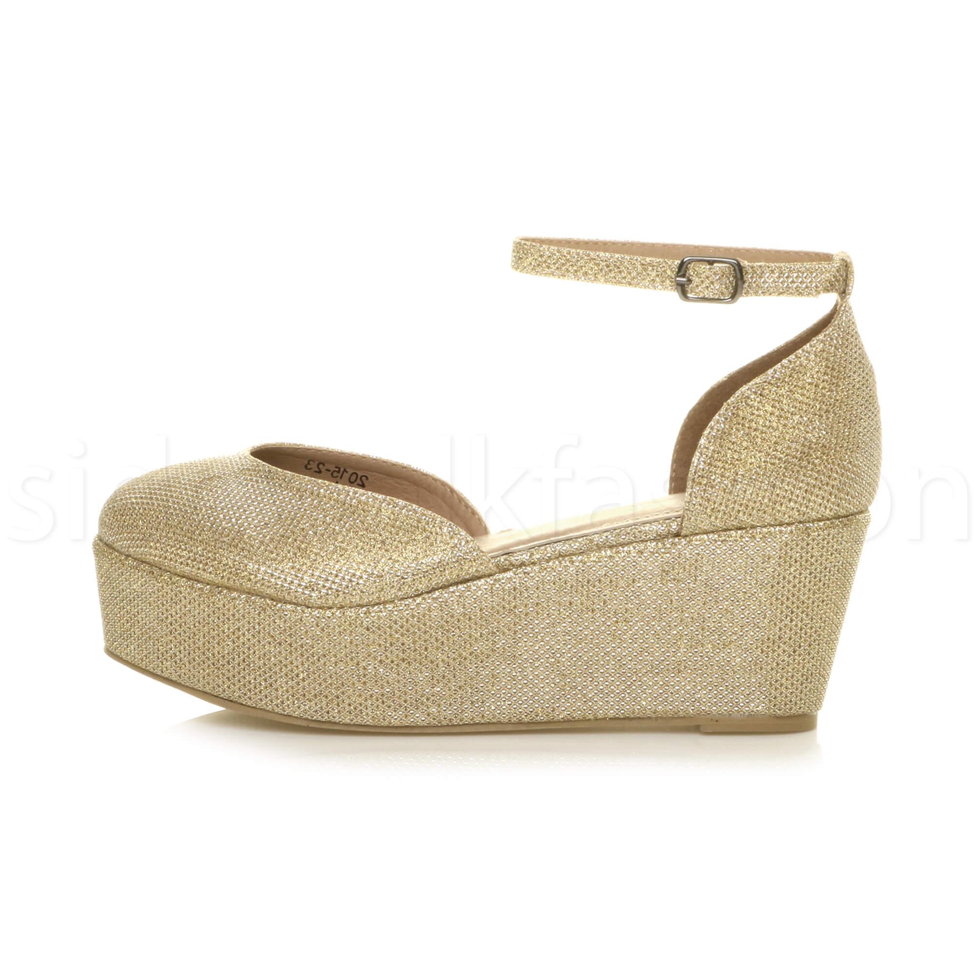 Womens-ladies-flatform-mid-wedge-ankle-strap-platform-court-shoes-sandals-size thumbnail 35