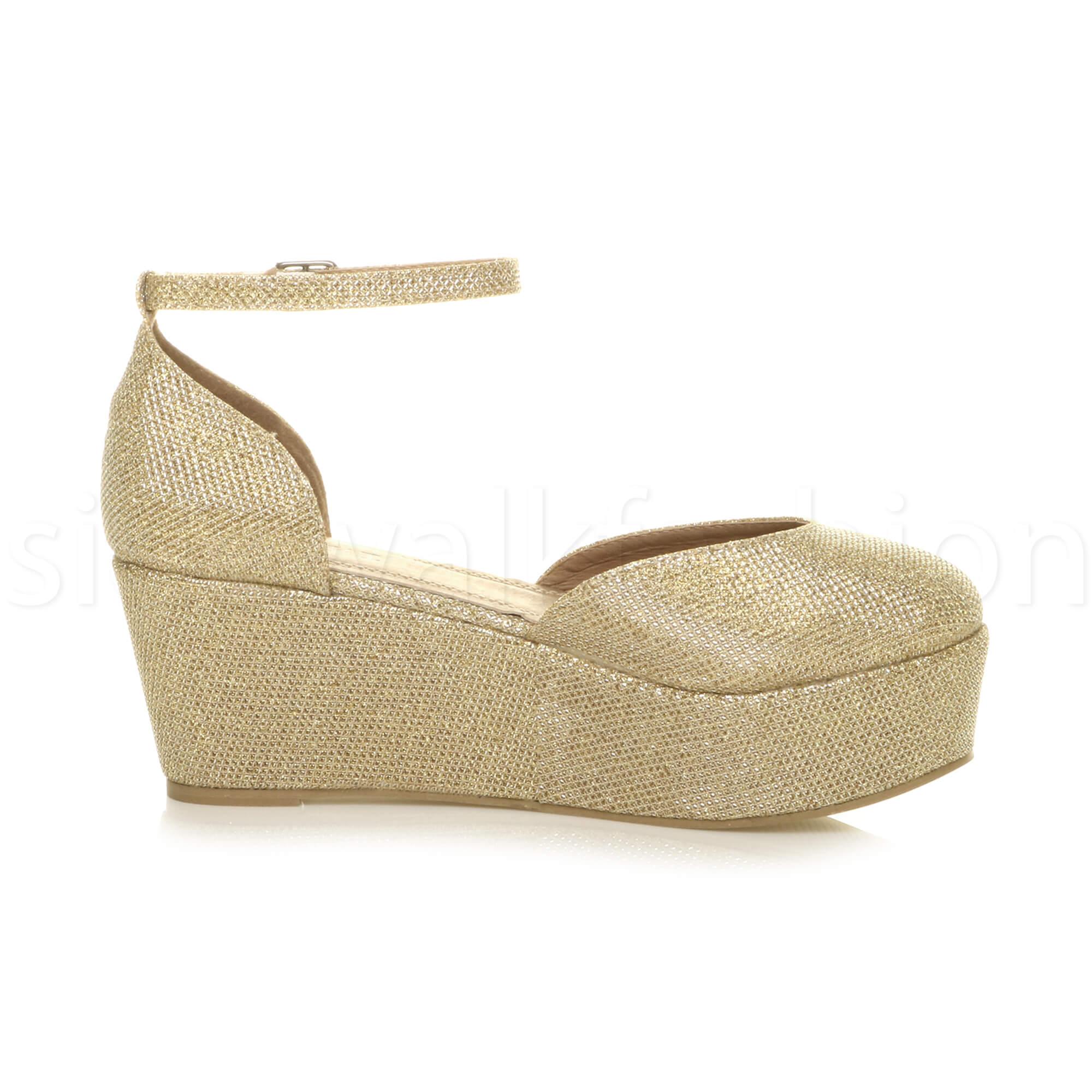 Womens-ladies-flatform-mid-wedge-ankle-strap-platform-court-shoes-sandals-size thumbnail 36