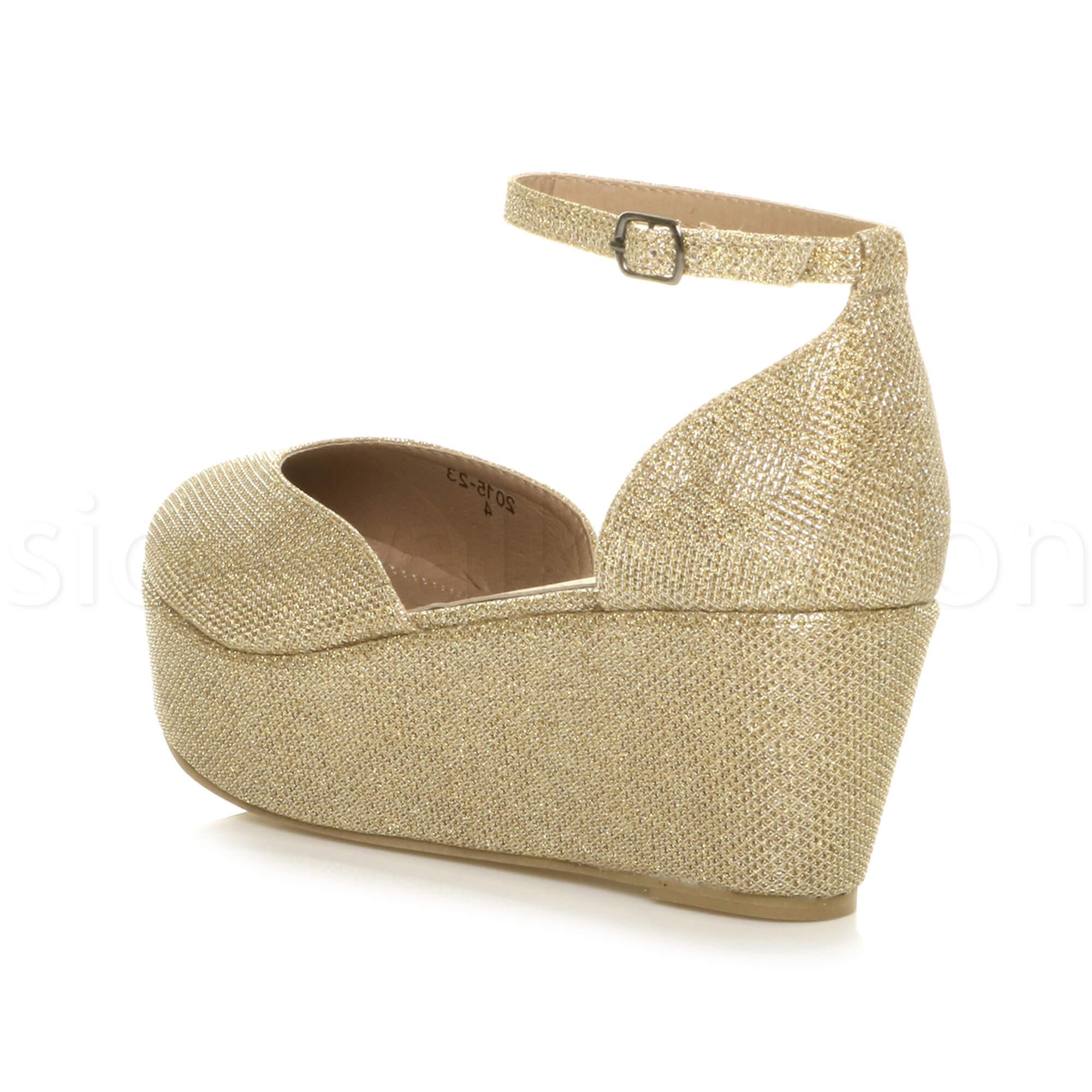 Womens-ladies-flatform-mid-wedge-ankle-strap-platform-court-shoes-sandals-size thumbnail 37