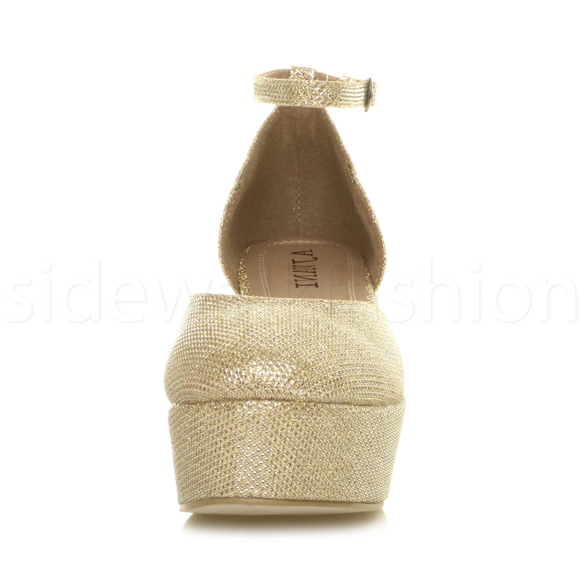 Womens-ladies-flatform-mid-wedge-ankle-strap-platform-court-shoes-sandals-size thumbnail 39