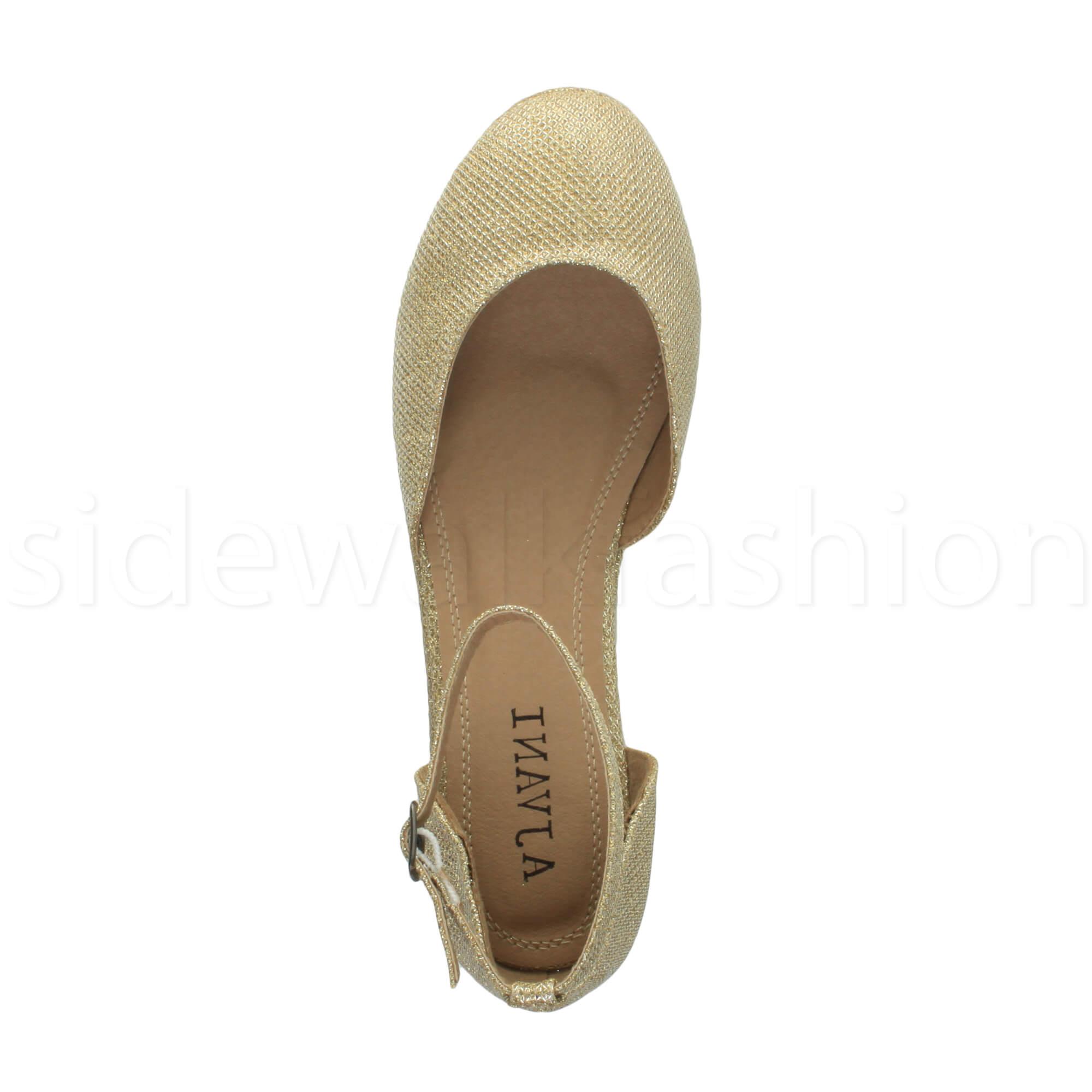 Womens-ladies-flatform-mid-wedge-ankle-strap-platform-court-shoes-sandals-size thumbnail 40