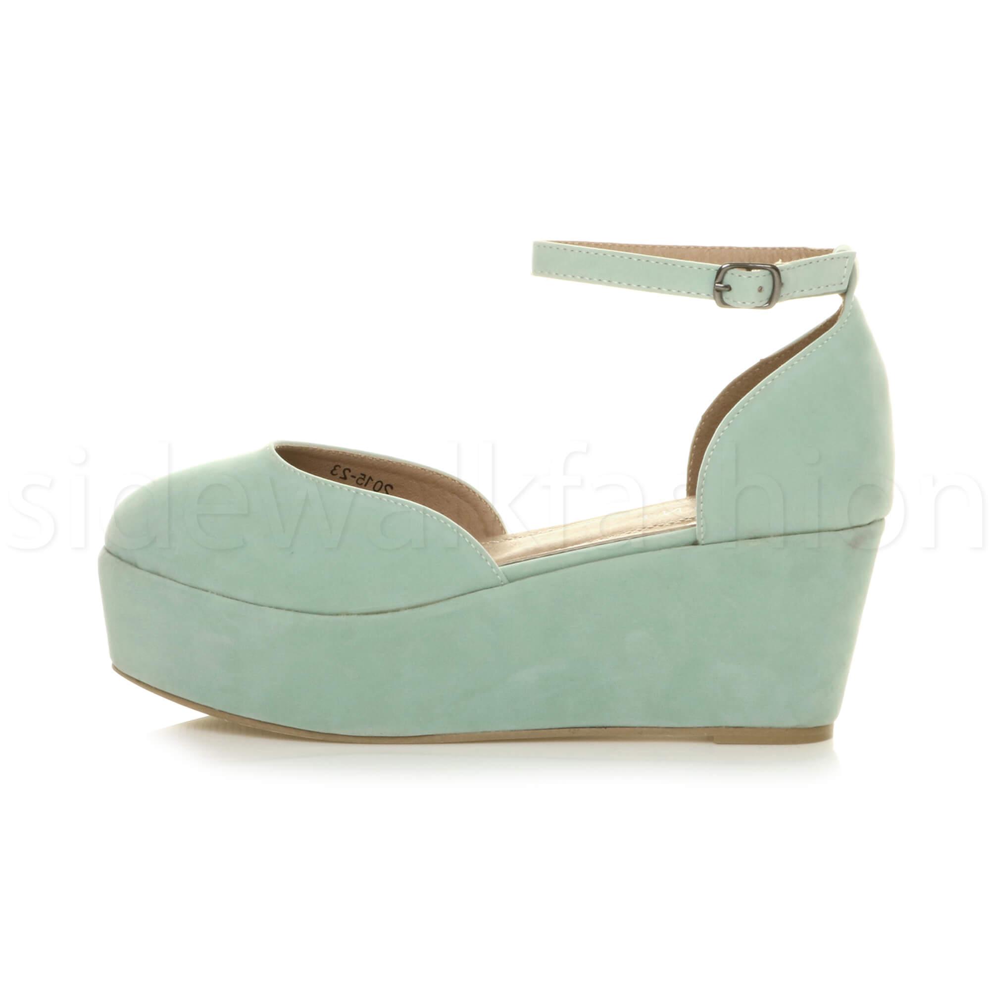 Womens-ladies-flatform-mid-wedge-ankle-strap-platform-court-shoes-sandals-size thumbnail 43