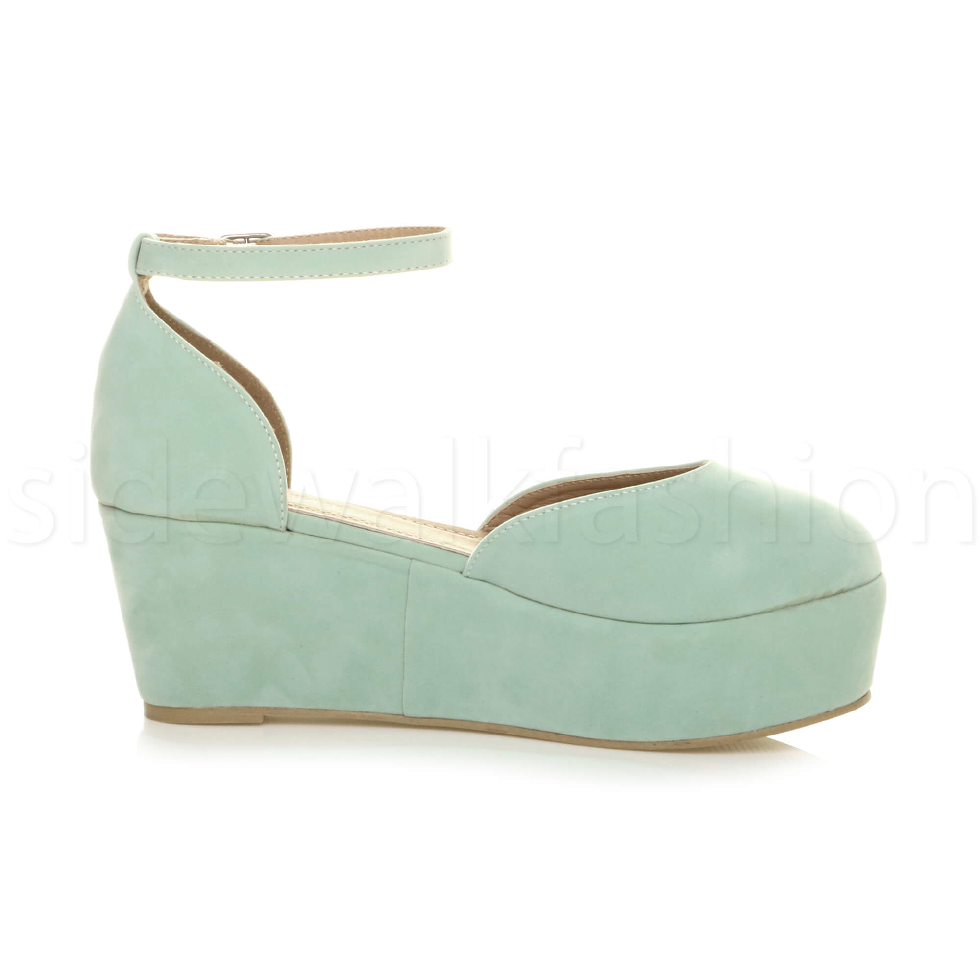 Womens-ladies-flatform-mid-wedge-ankle-strap-platform-court-shoes-sandals-size thumbnail 44