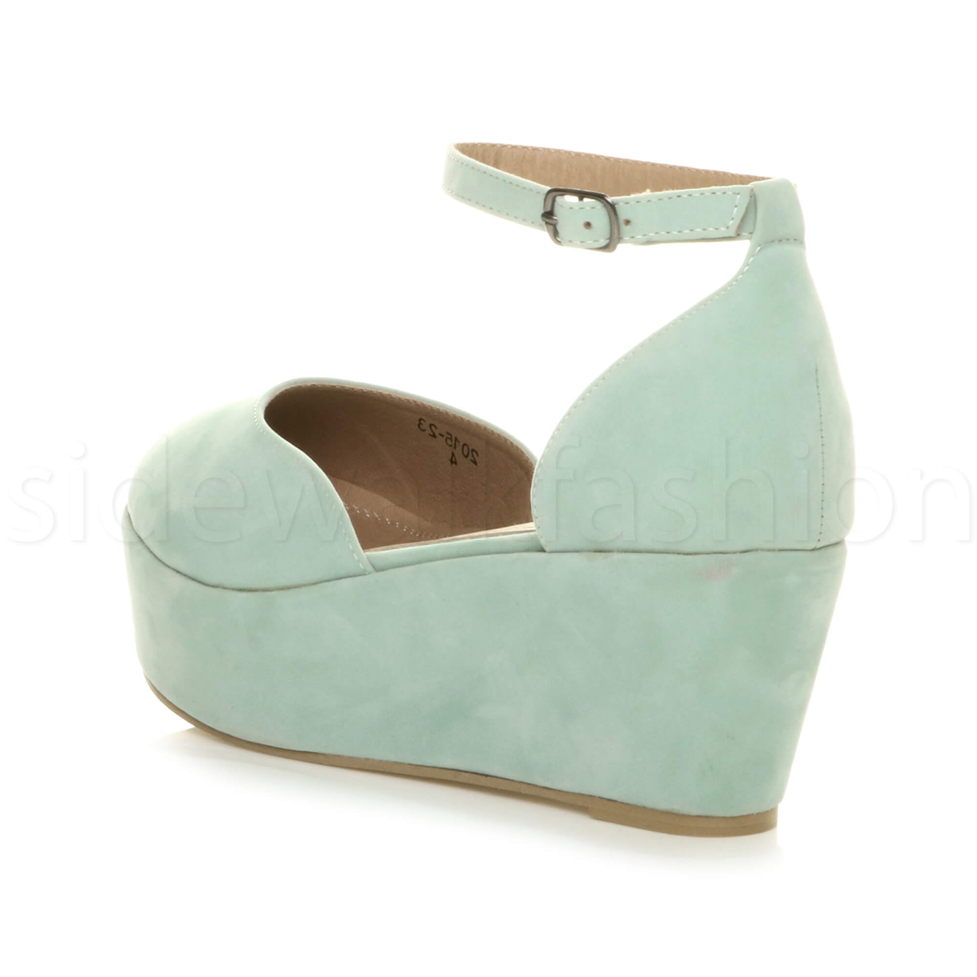 Womens-ladies-flatform-mid-wedge-ankle-strap-platform-court-shoes-sandals-size thumbnail 45