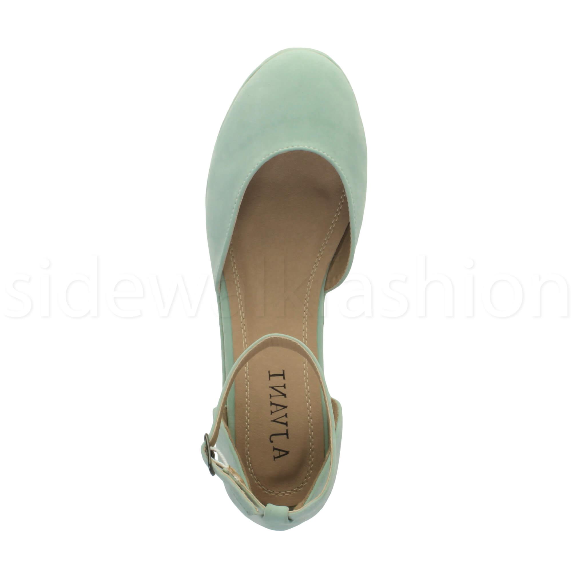 Womens-ladies-flatform-mid-wedge-ankle-strap-platform-court-shoes-sandals-size thumbnail 48