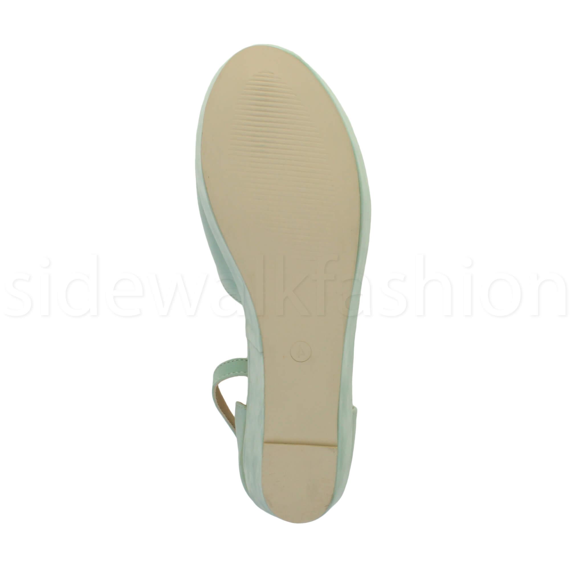 Womens-ladies-flatform-mid-wedge-ankle-strap-platform-court-shoes-sandals-size thumbnail 49